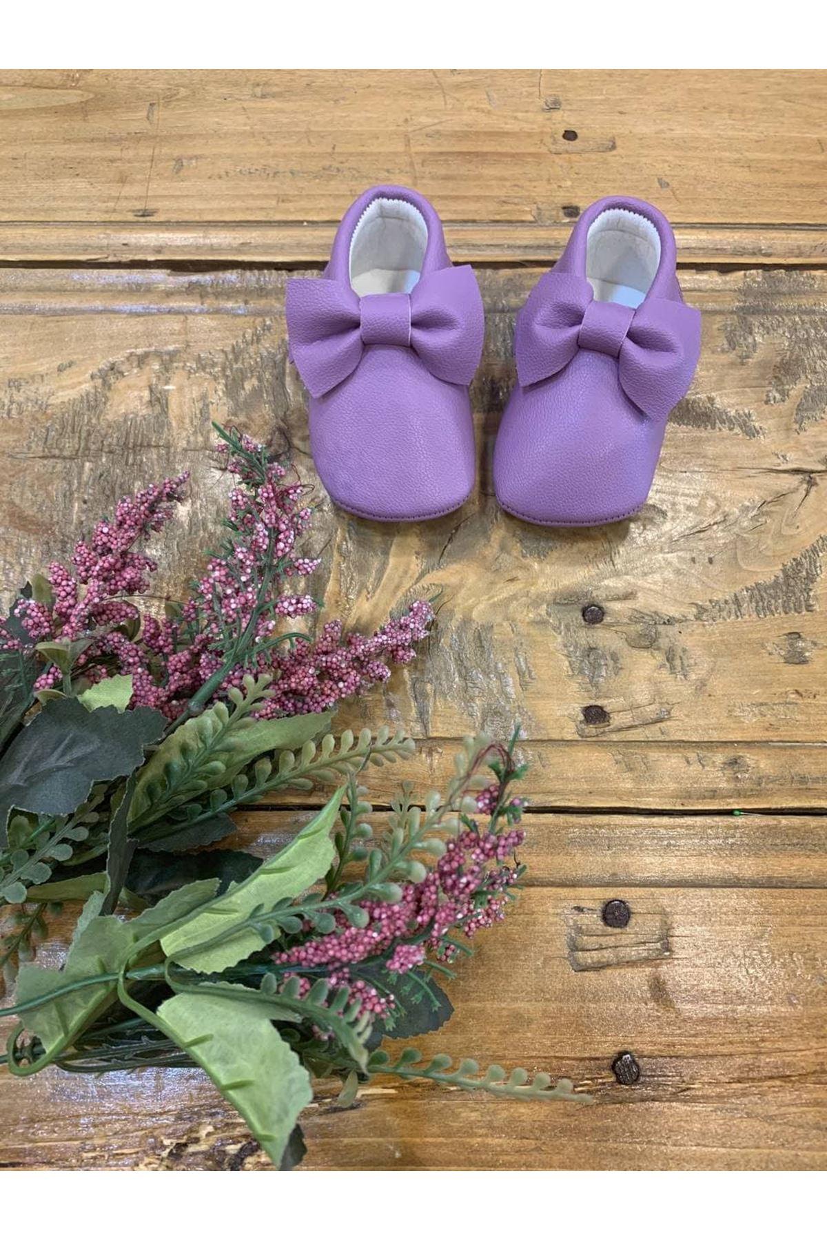 Baby Tuğra Fiyonklu Makosen Patik Bebek Ayakkabı - Lila