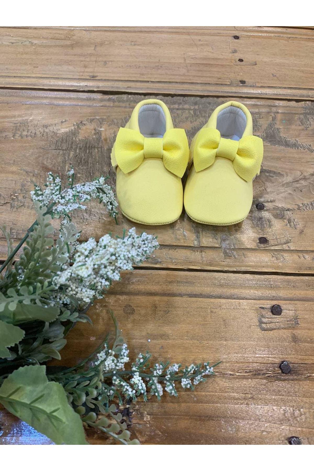 Baby Tuğra Fiyonklu Makosen Patik Bebek Ayakkabı - Limon Sarısı
