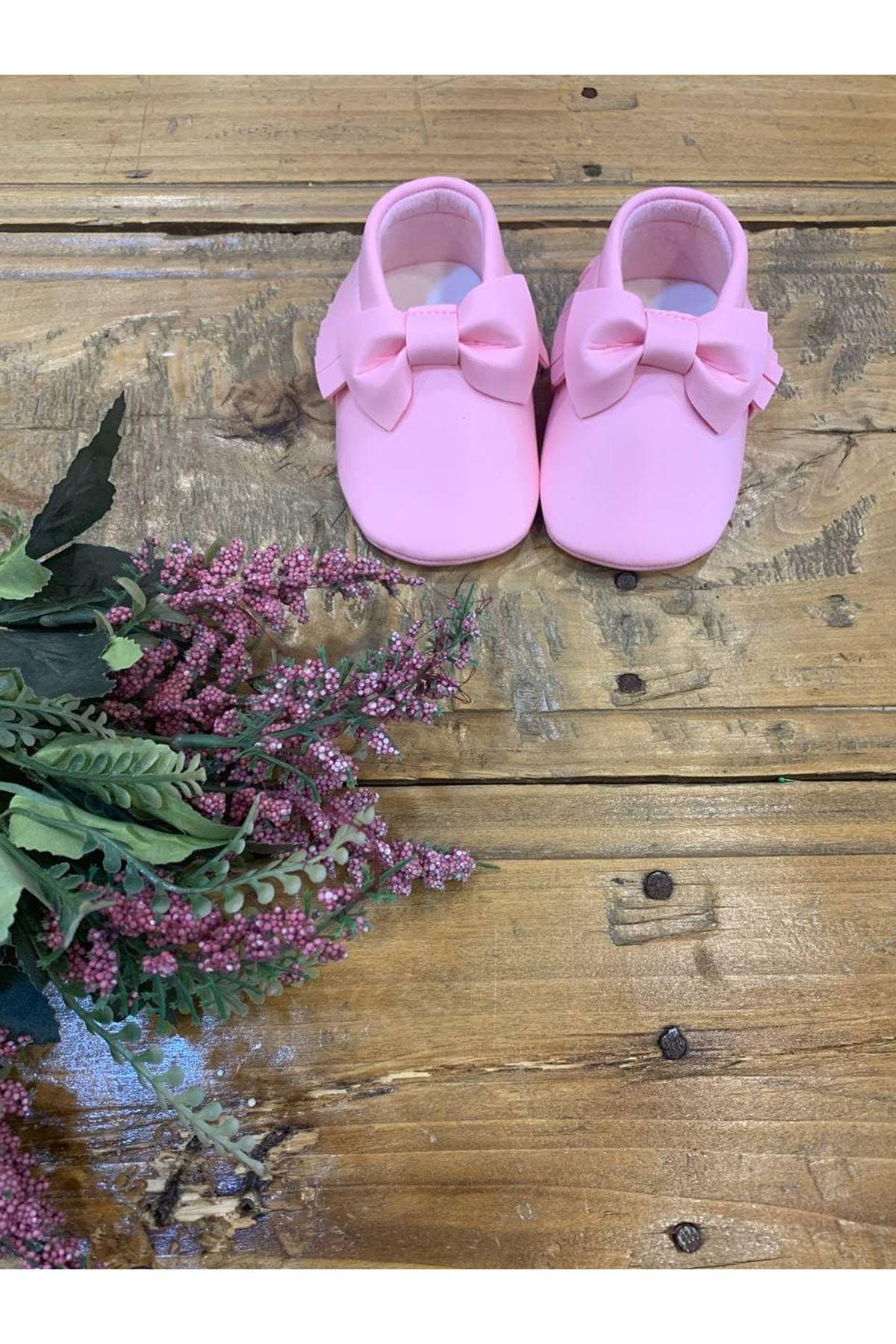 Baby Tuğra Fiyonklu Makosen Patik Bebek Ayakkabı - Pembe