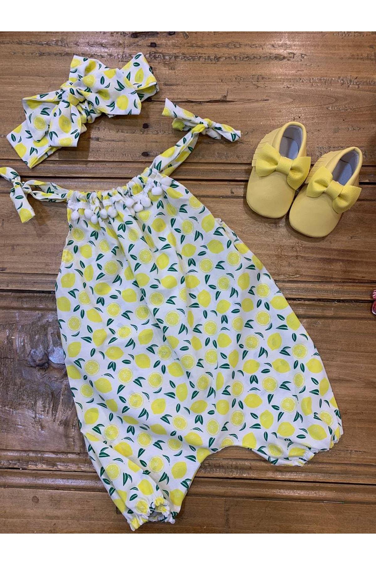 Baby Tuğra Bebek Limon Desenli Ponponlu Tulum - Limon Sarısı