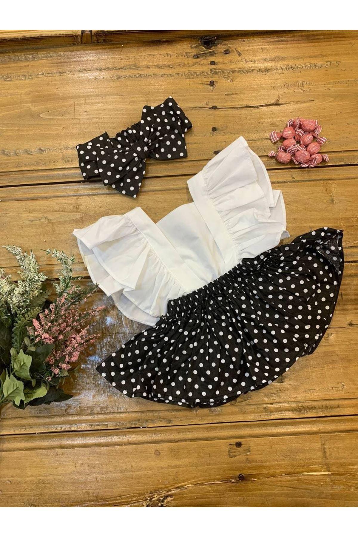 Baby Tuğra Kız Bebek Salopet Elbise - Siyah