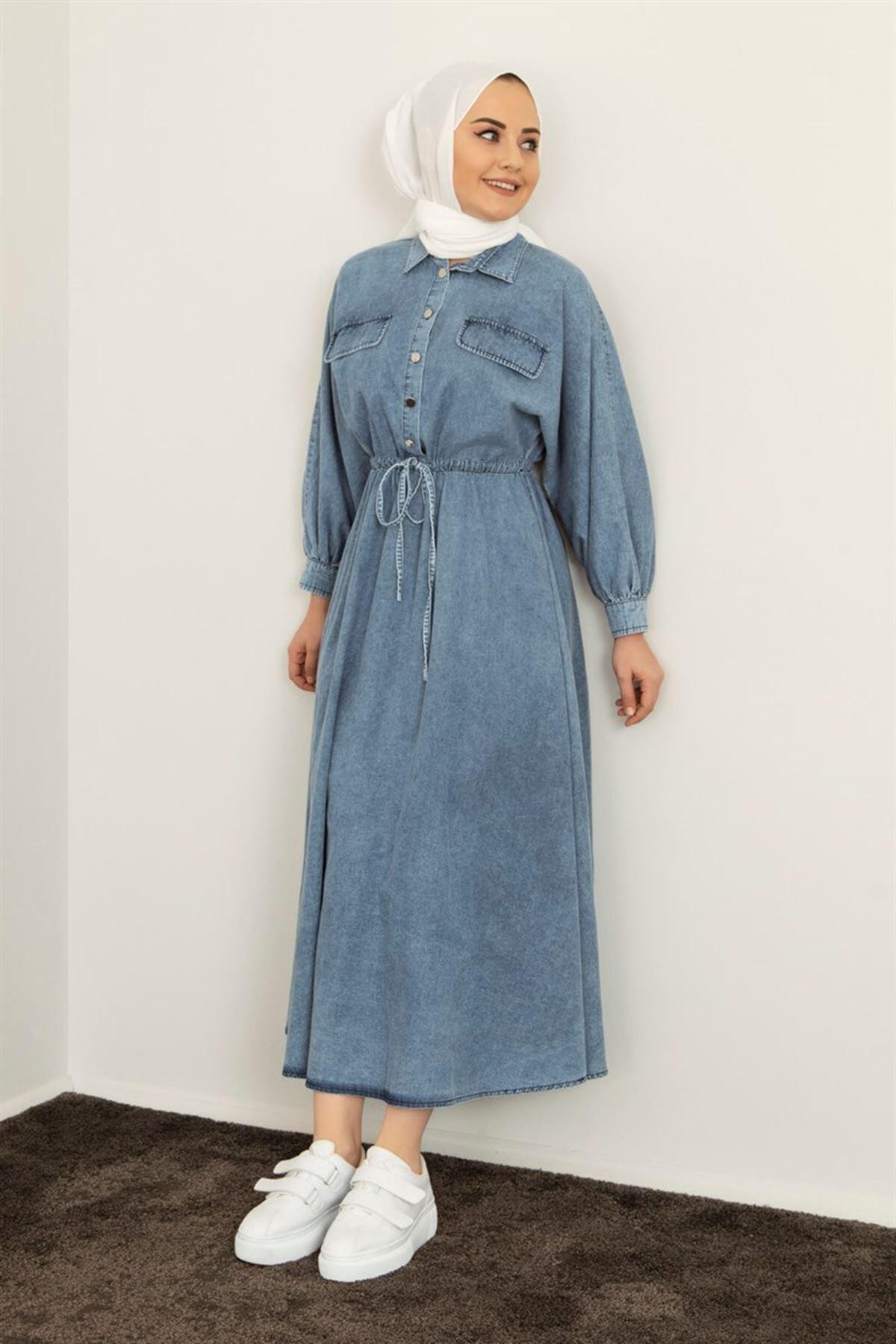 Kadın Belden Bağcıklı Kot Elbise - Mavi