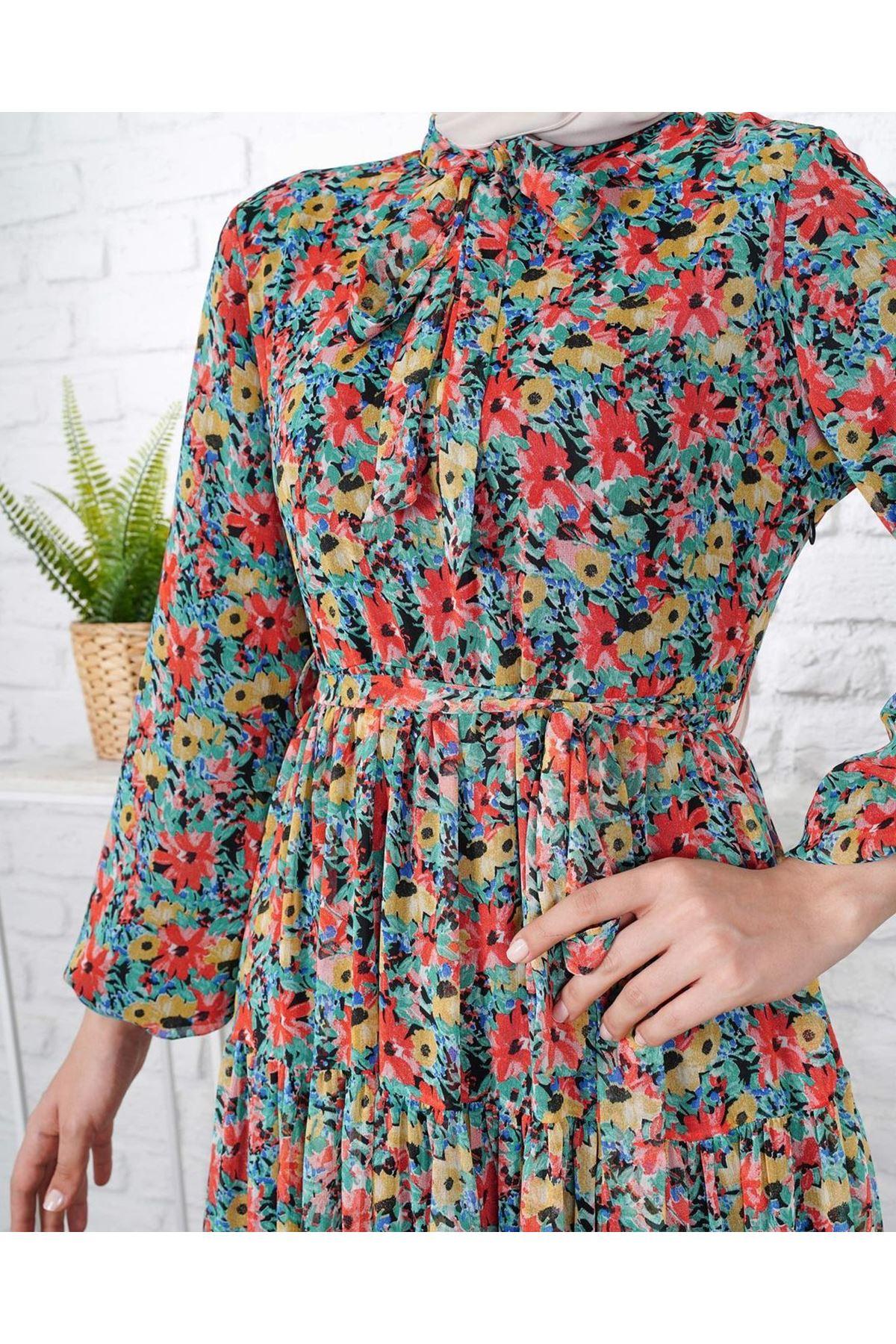 Kadın Desenli Elbise - Açık Yeşil