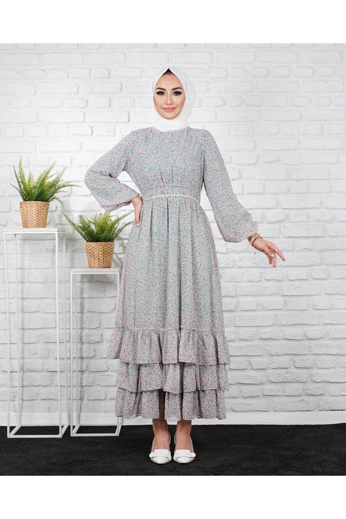 Kadın Eteği 3 Kat Elbise - Çağla