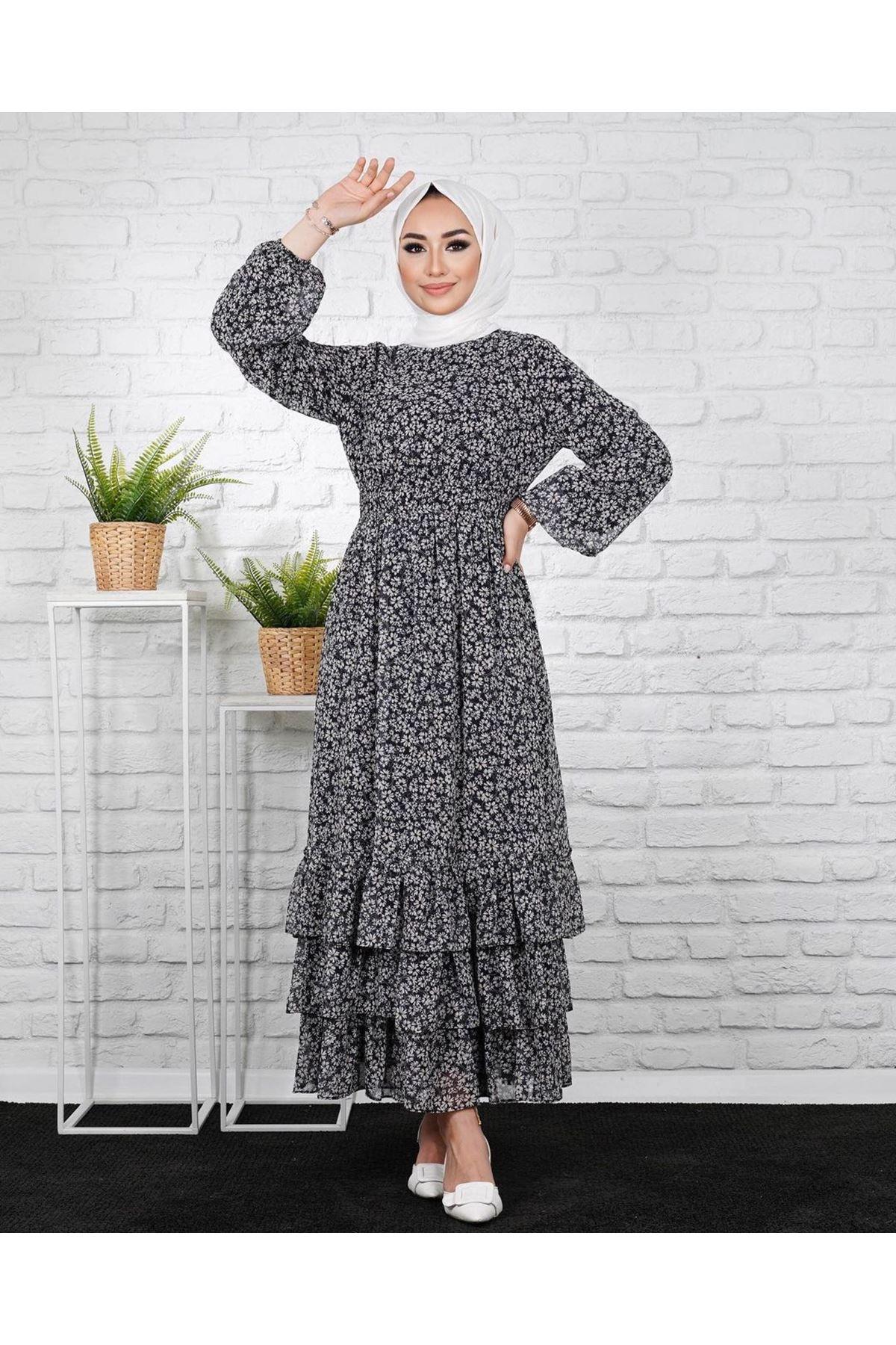 Kadın Eteği 3 Kat Elbise - Siyah