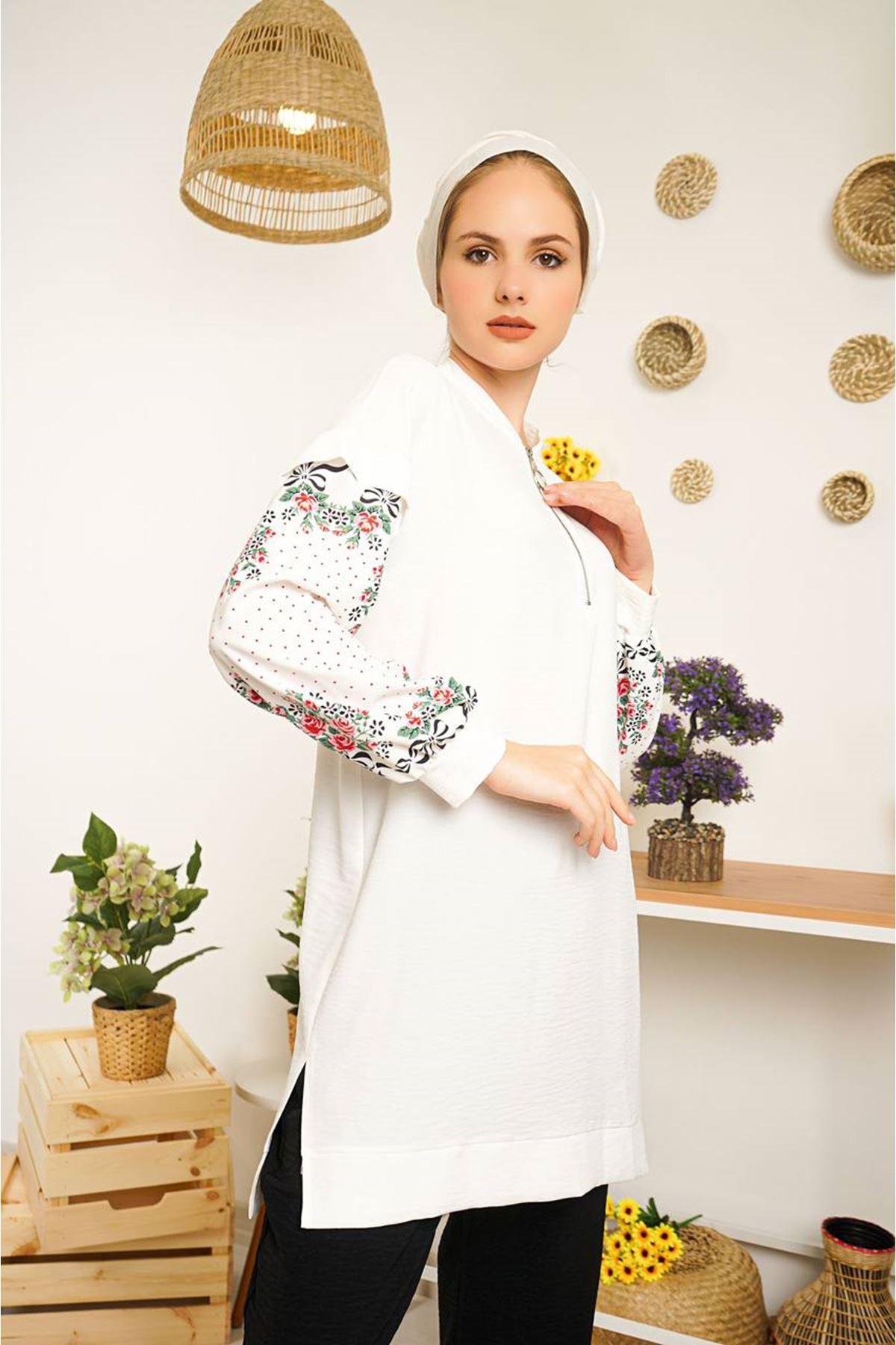 Kadın Kol Desenli Tunik - Beyaz