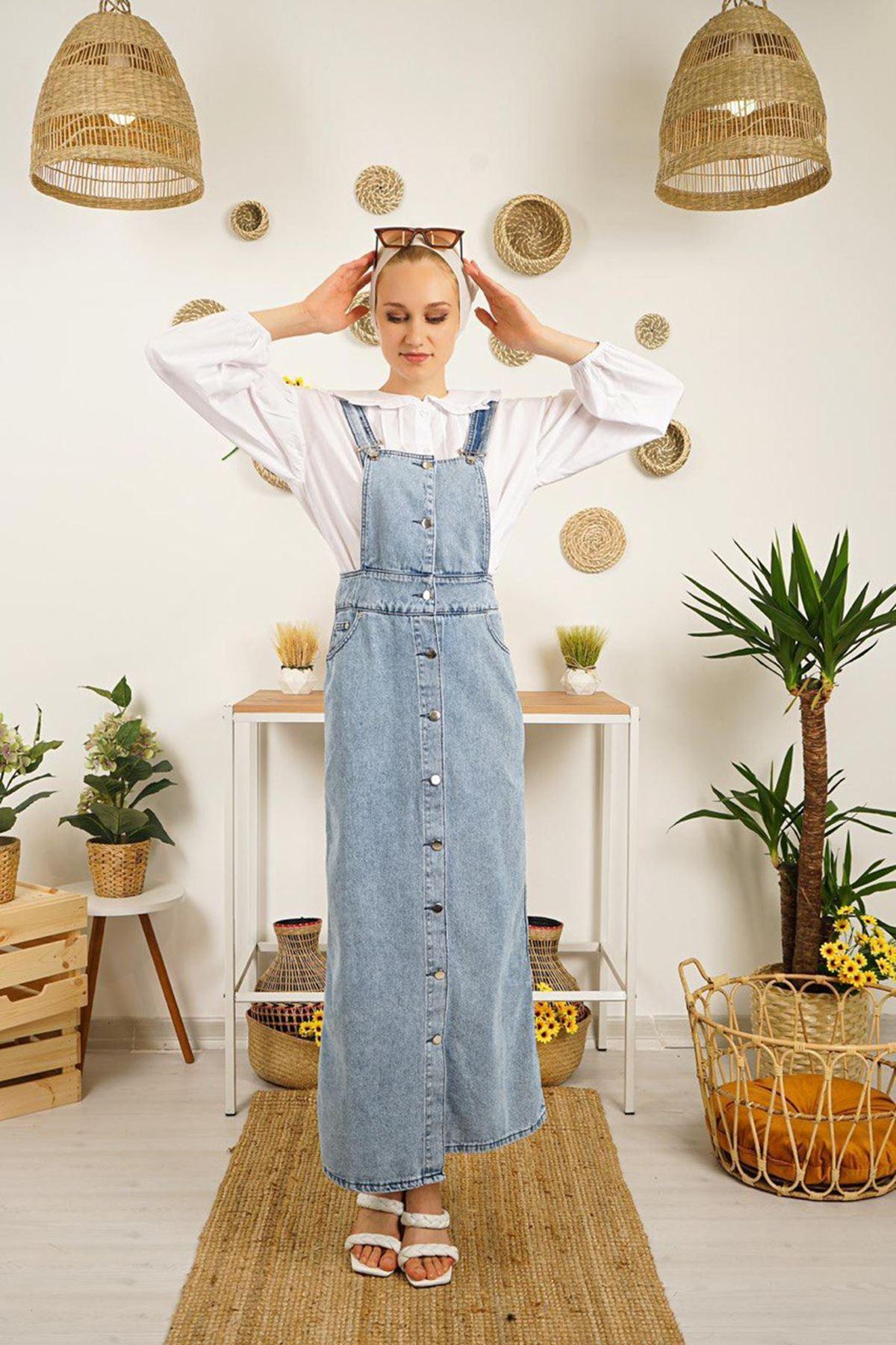 Kadın Kot Salopet Elbise - Açık Mavi