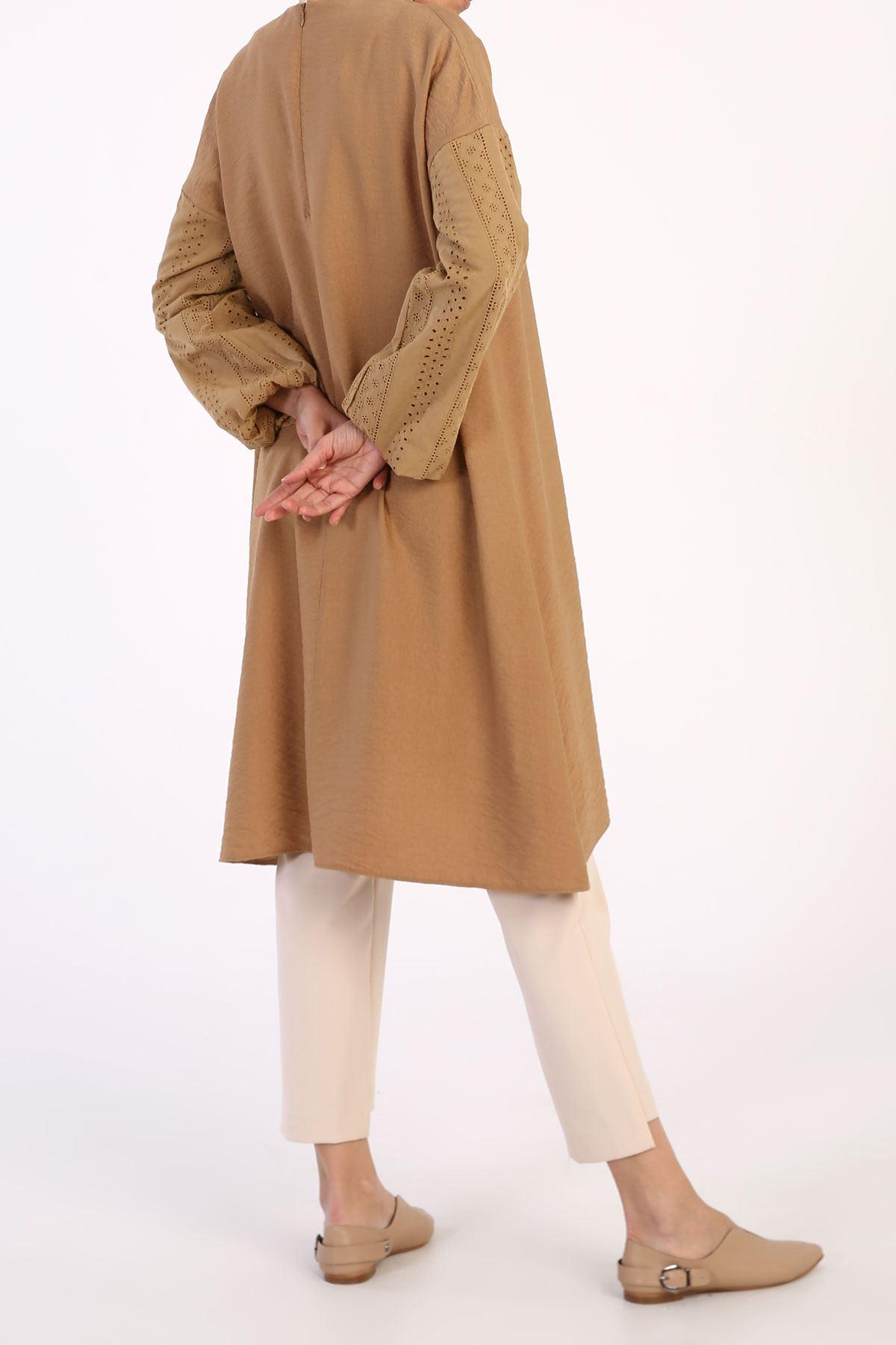 Kadın Kol Dantel Tensel Tunik-koyu bej