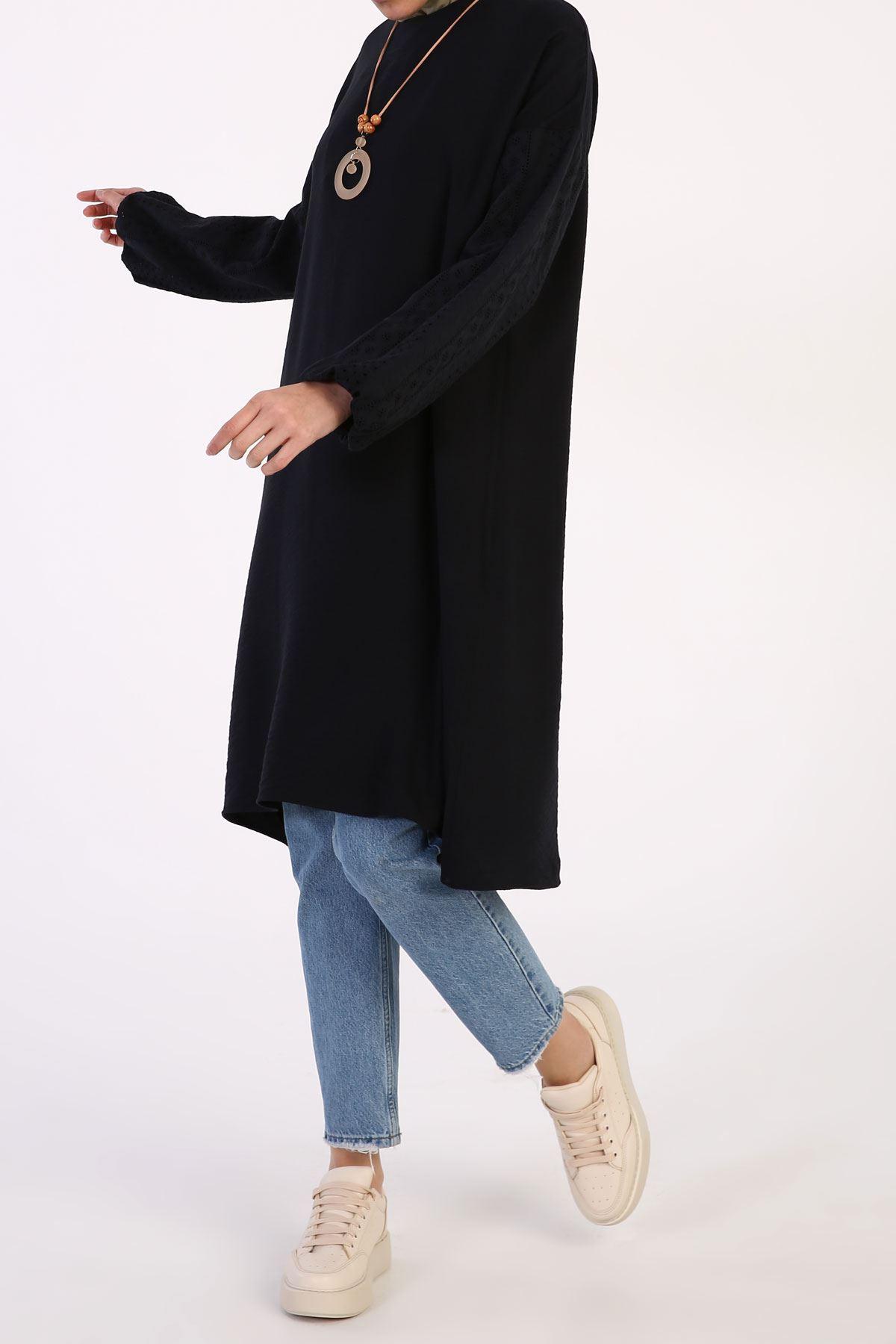 Kadın Kol Dantel Tensel Tunik-siyah