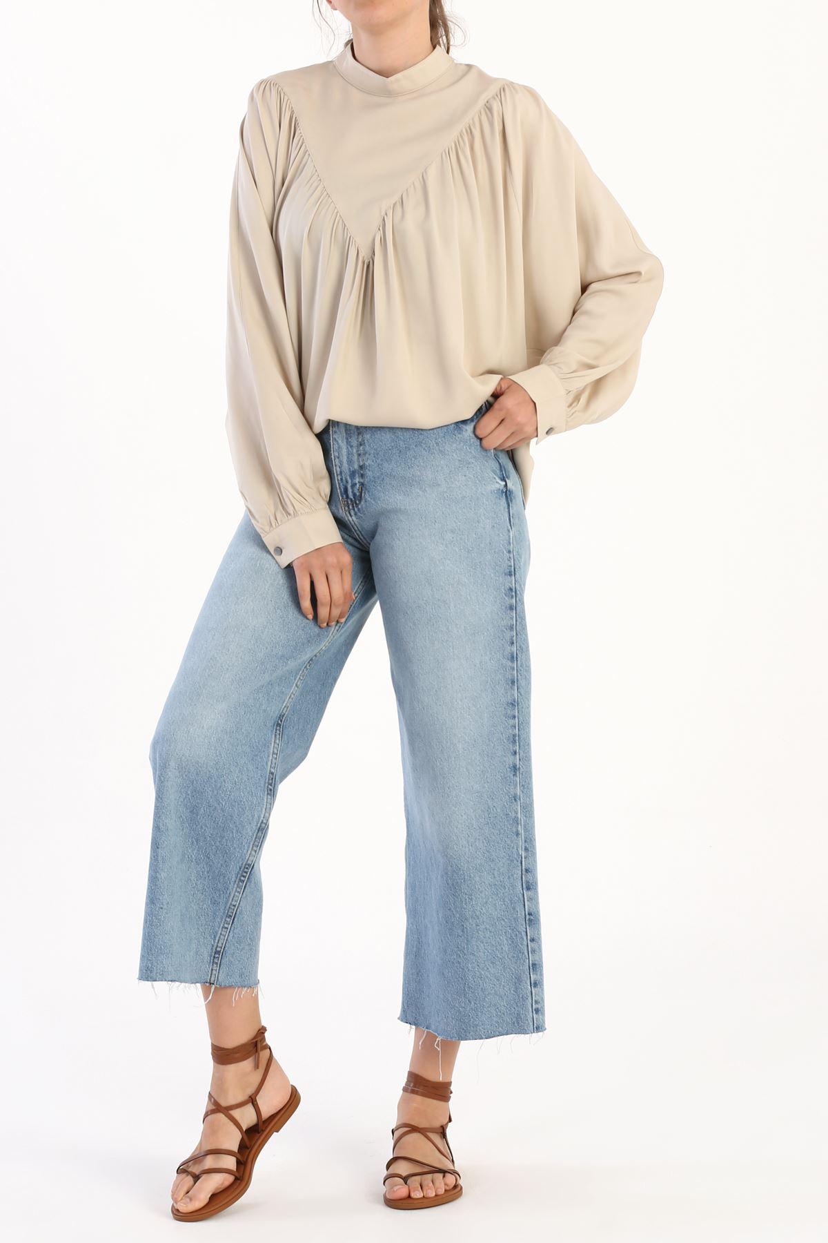 Kadın Büzgülü Salaş Bluz-bej