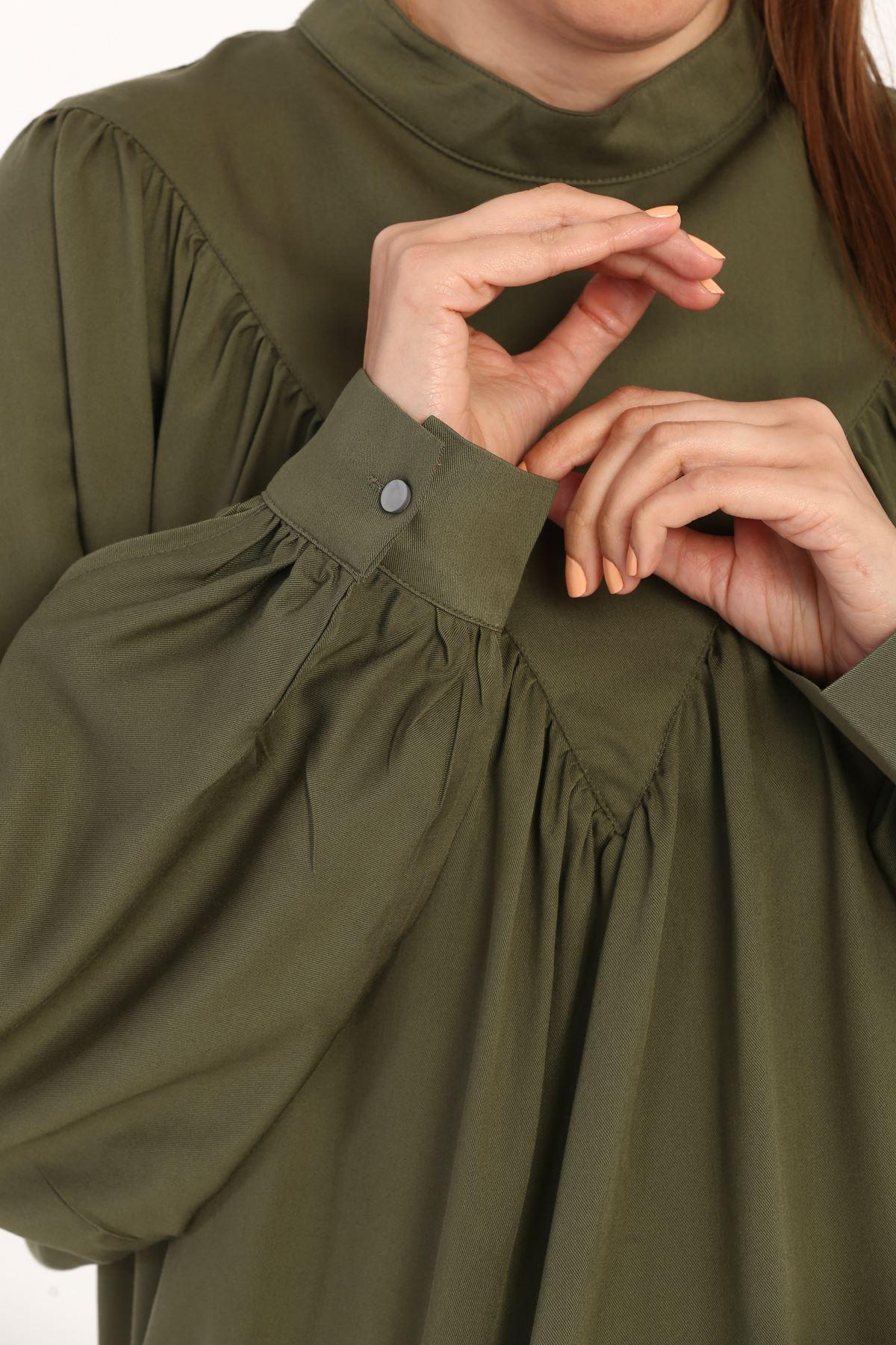 Kadın Büzgülü Salaş Bluz-haki