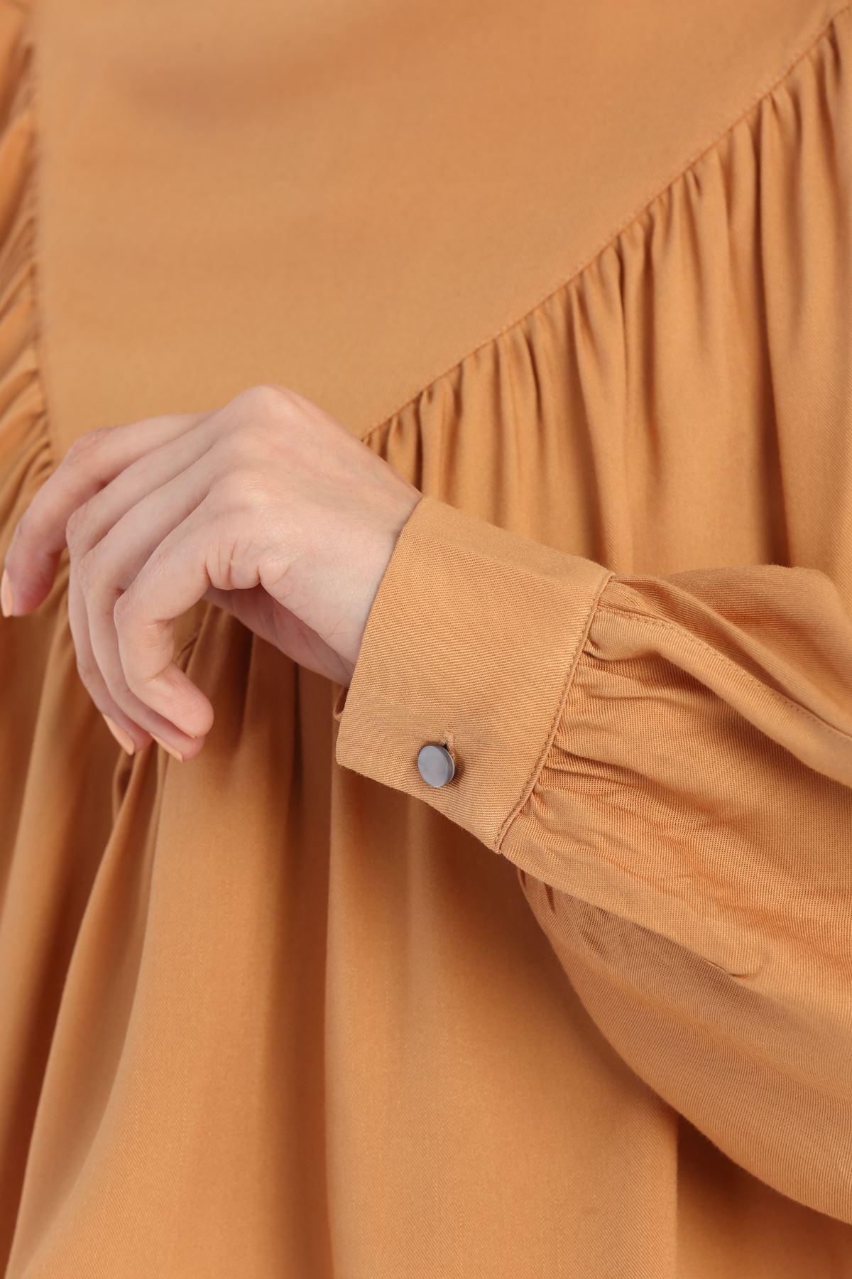 Kadın Büzgülü Salaş Bluz-hardal