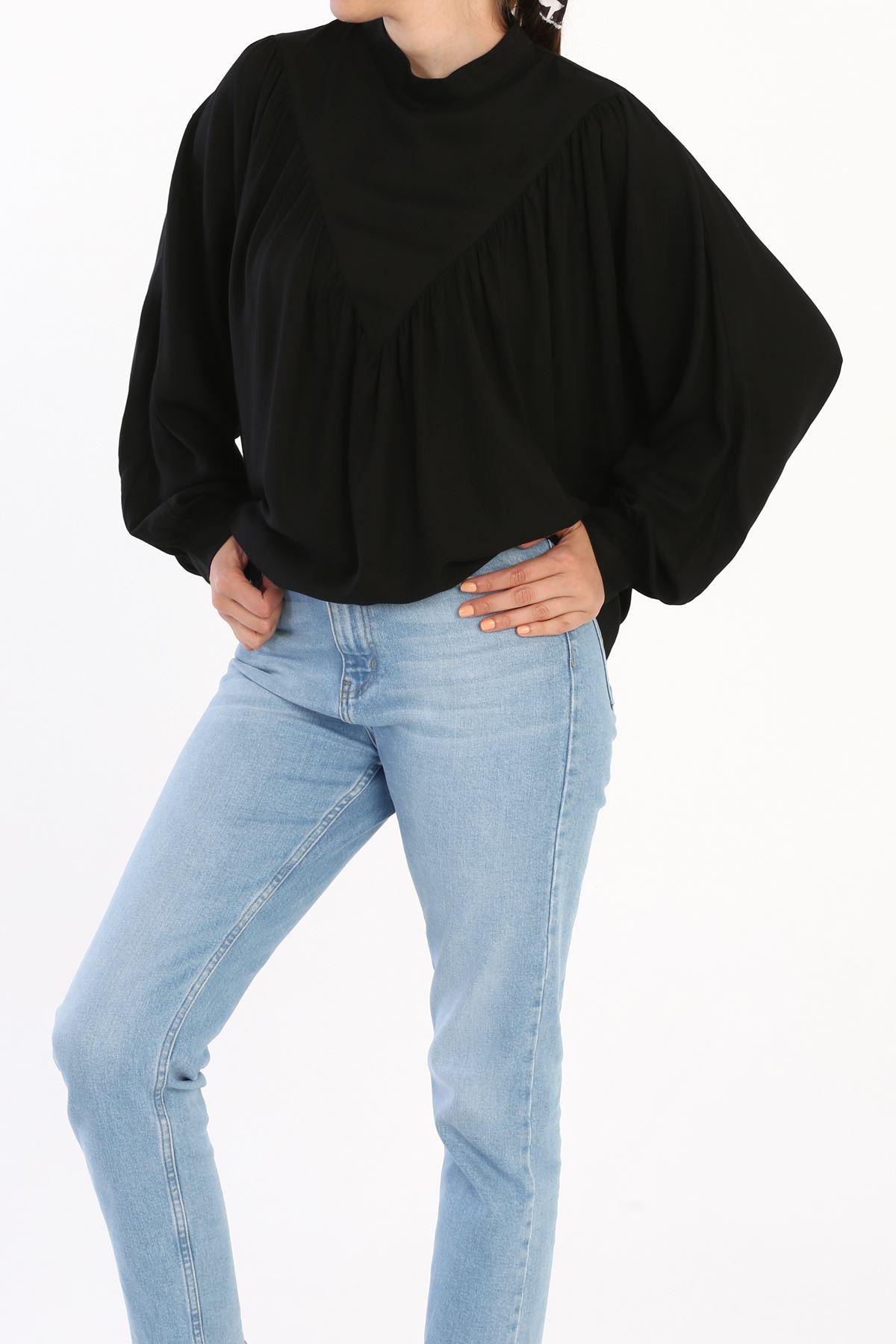 Kadın Büzgülü Salaş Bluz-siyah