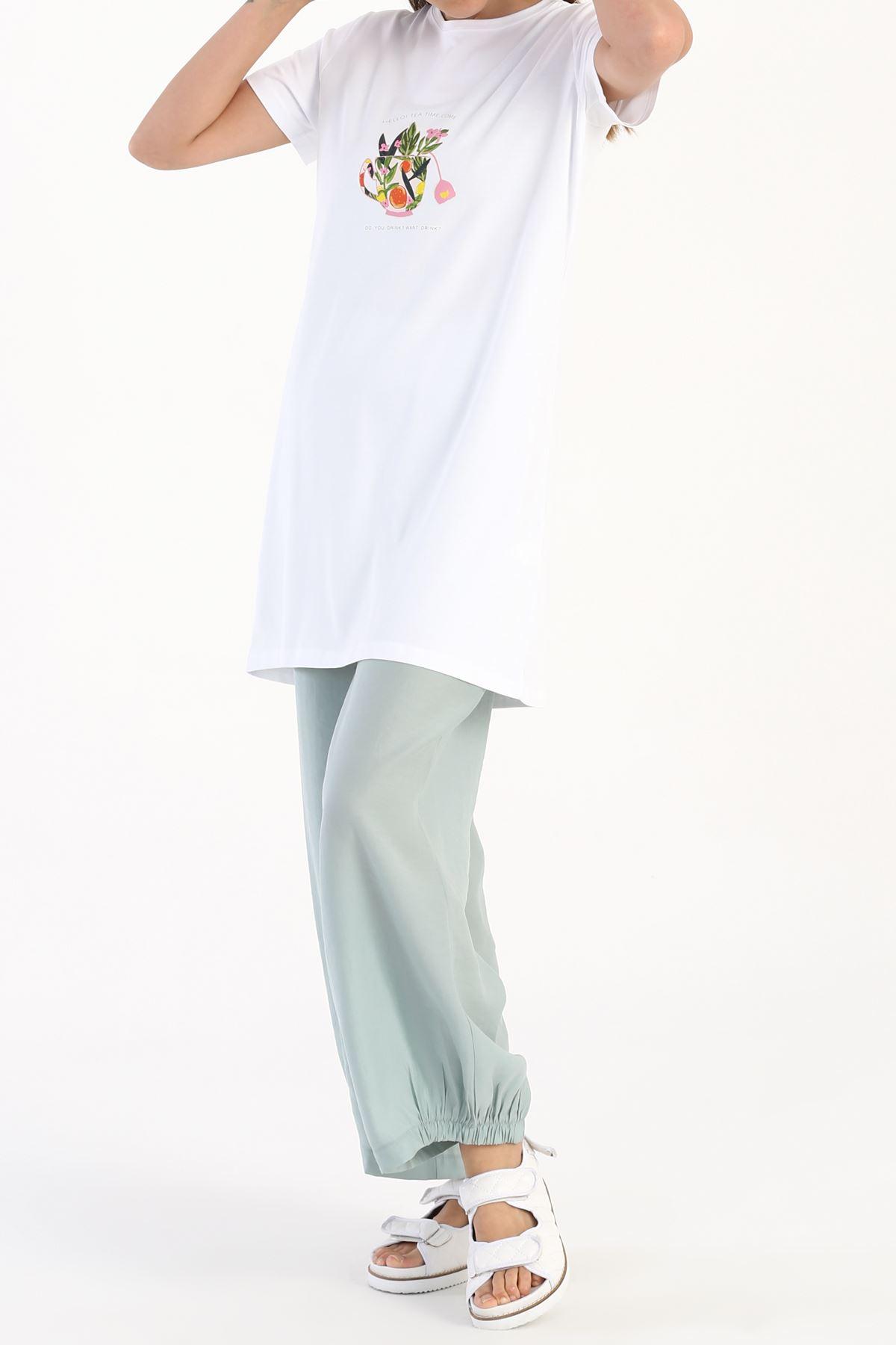 Kadın Baskılı Uzun T-Shirt-beyaz
