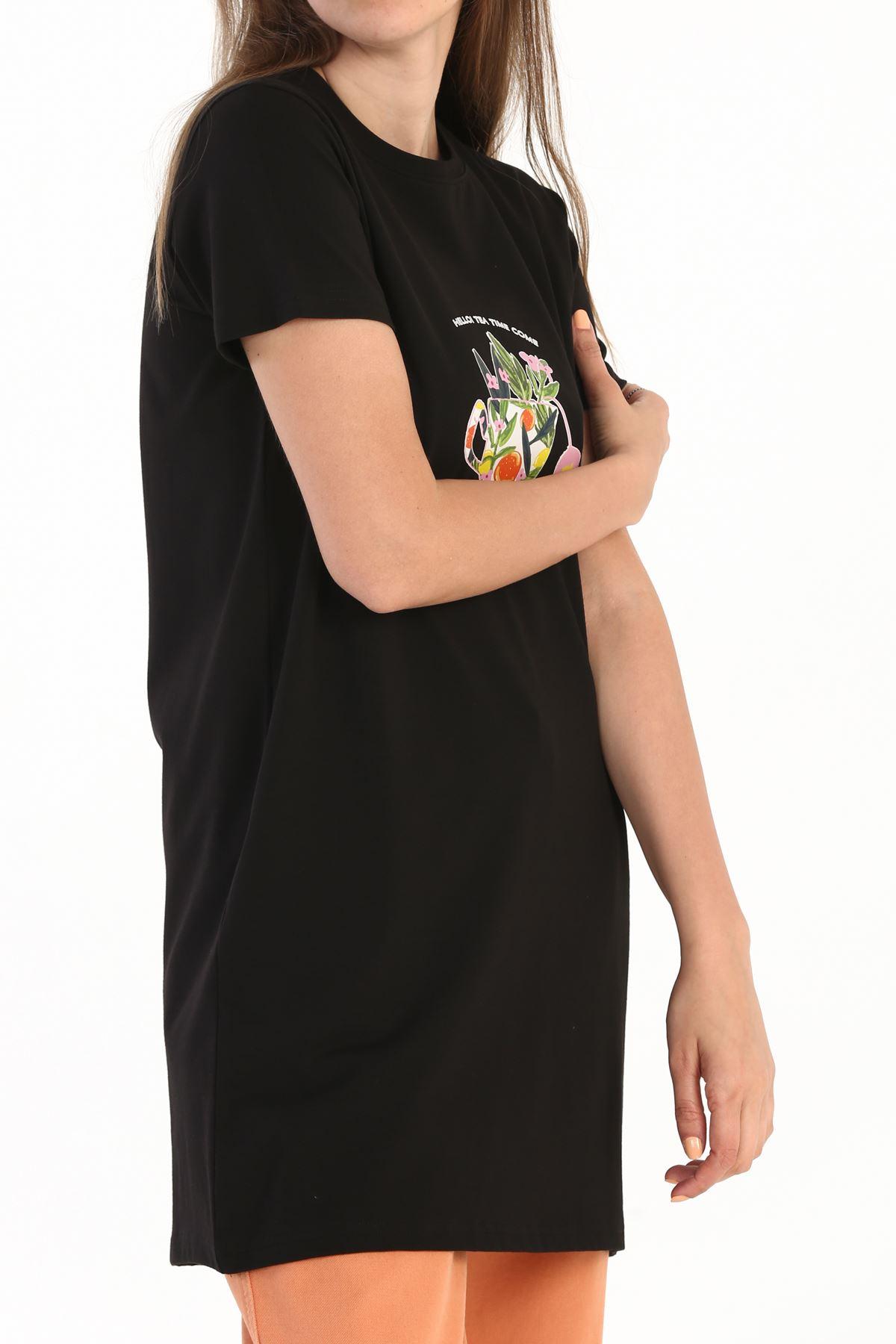 Kadın Baskılı Uzun T-Shirt-siyah