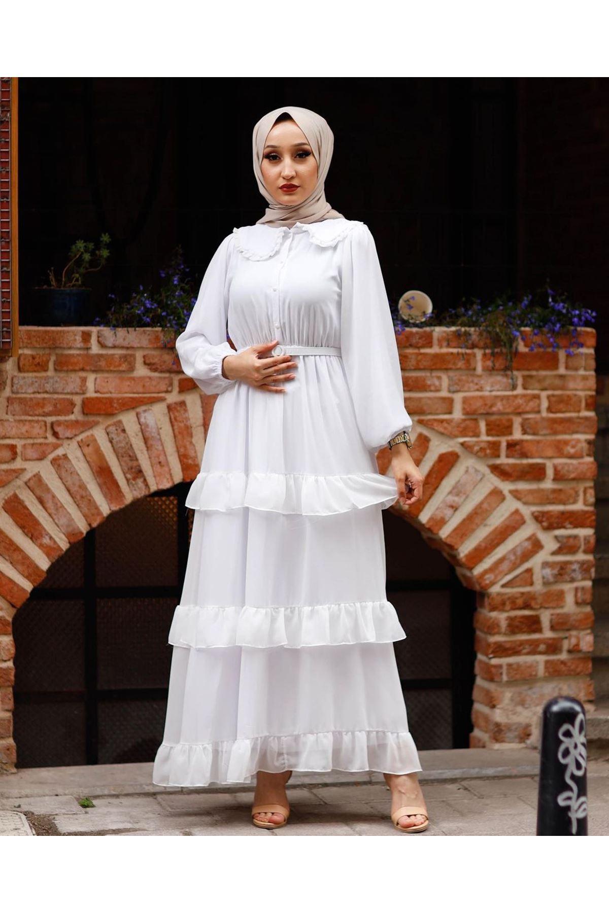 Kadın Bebe Yaka Kat Eblise-beyaz
