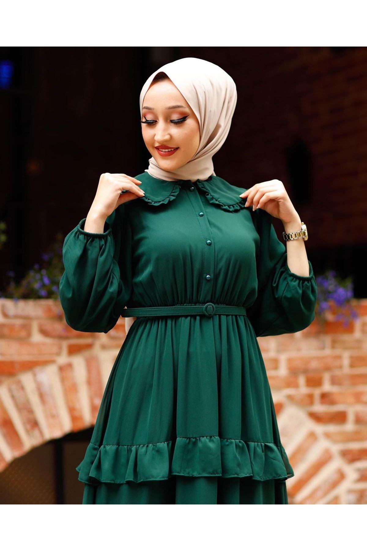 Kadın Bebe Yaka Kat Eblise-yeşil