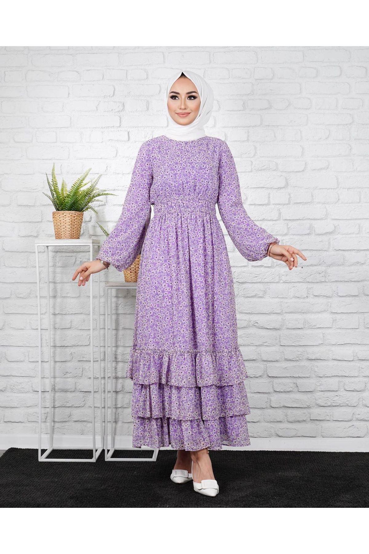 Kadın Eteği 3 Kat Elbise-lila