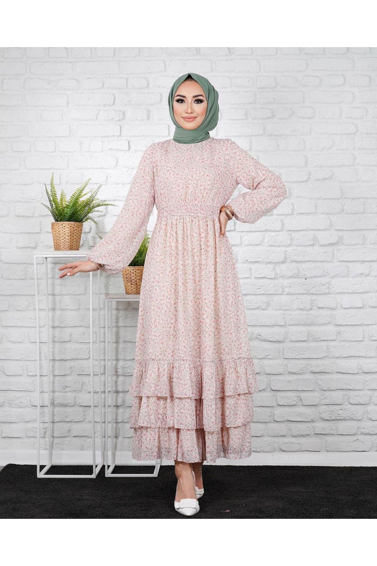 Kadın Eteği 3 Kat Elbise-pudra