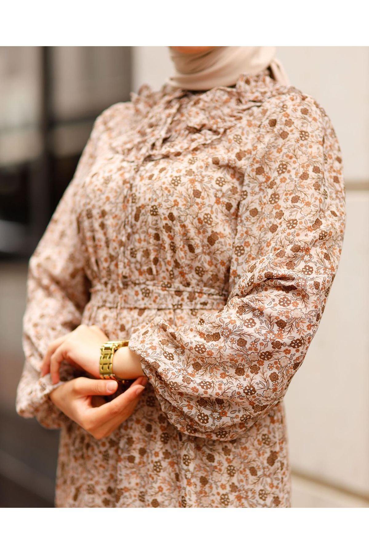 Kadın Çiçek Desen Yaka Güpürlü Eblise-bej