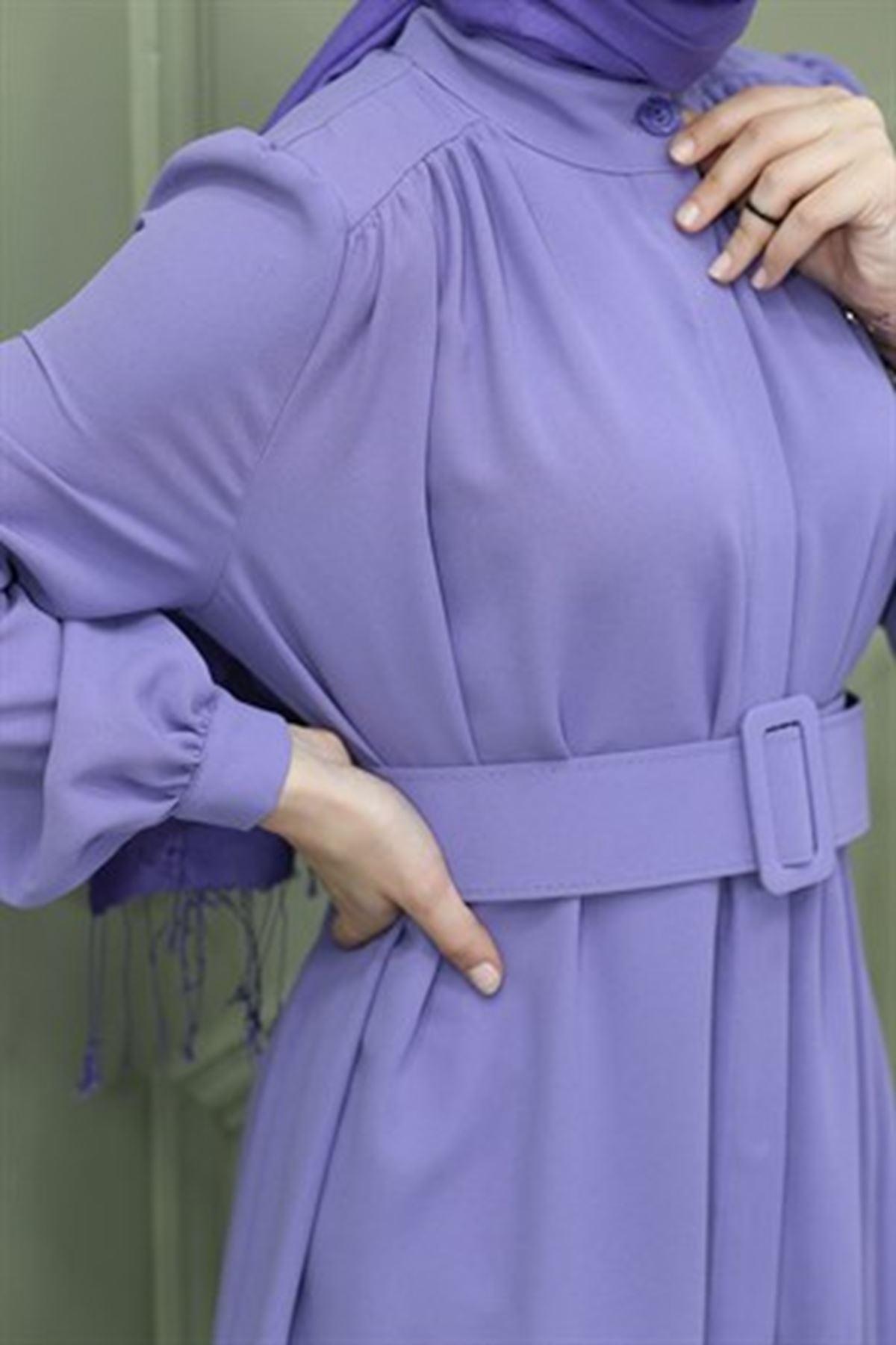 Kadın Boydan Düğmeli Omuz Robalı Tunik-lila