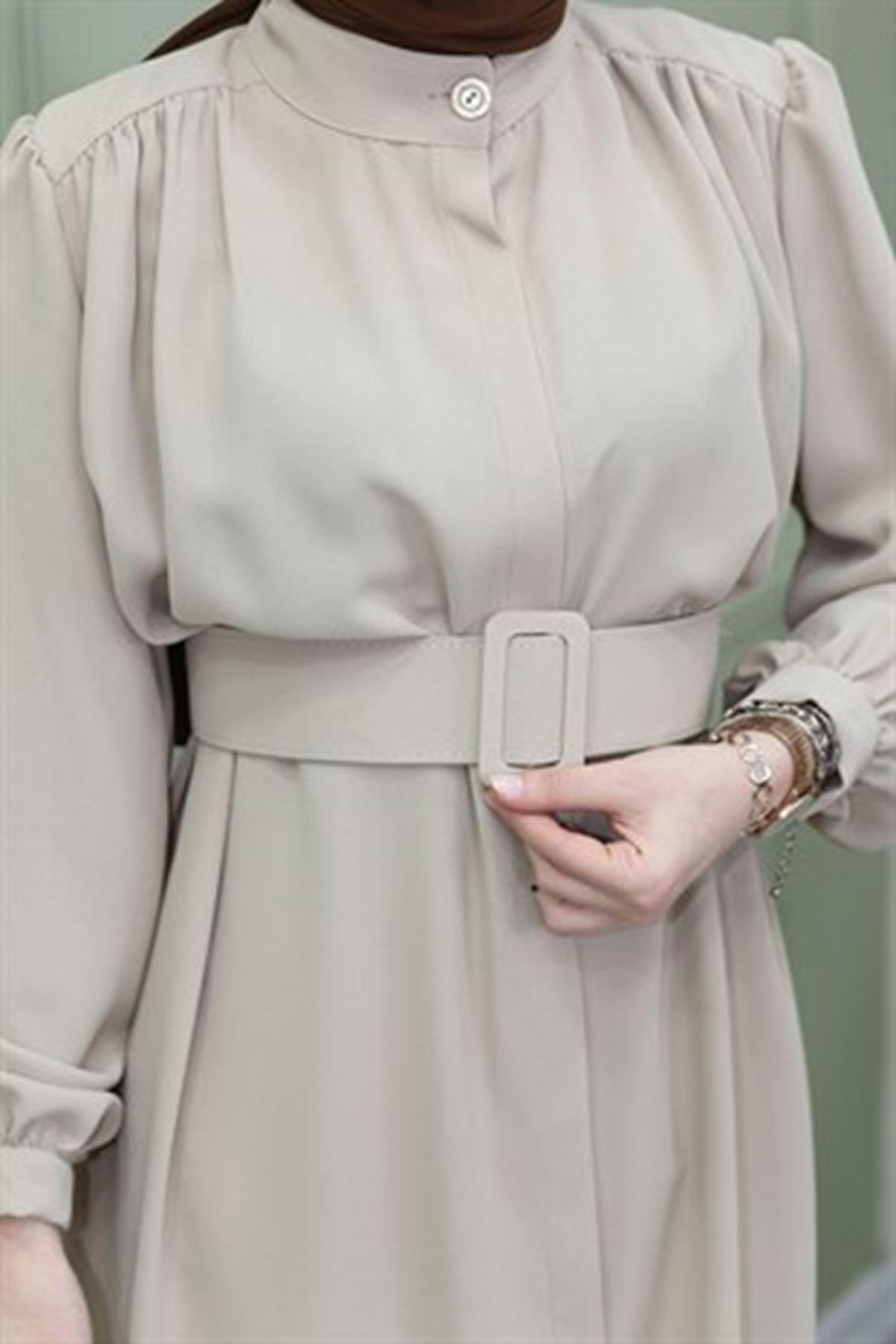 Kadın Boydan Düğmeli Omuz Robalı Tunik-vizyon