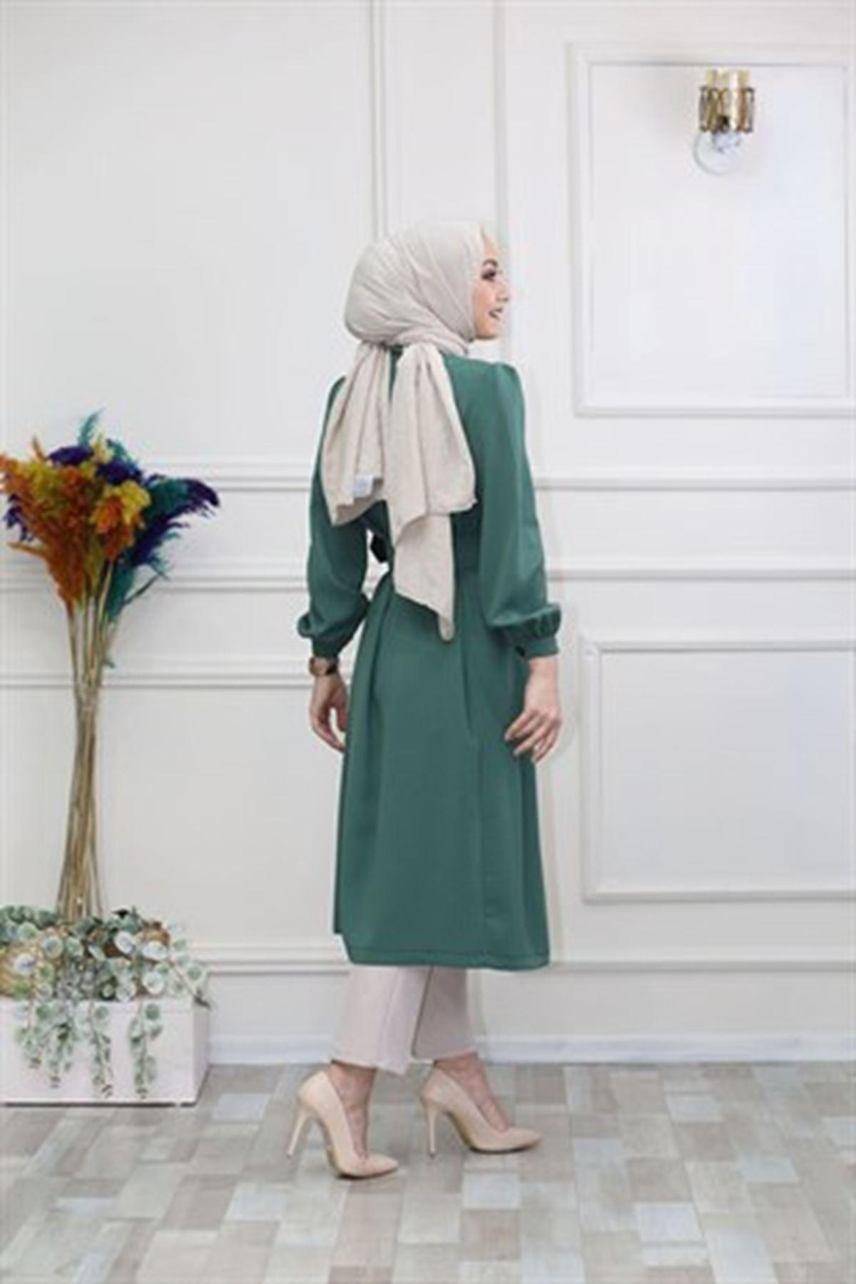 Kadın Boydan Düğmeli Omuz Robalı Tunik-yeşil