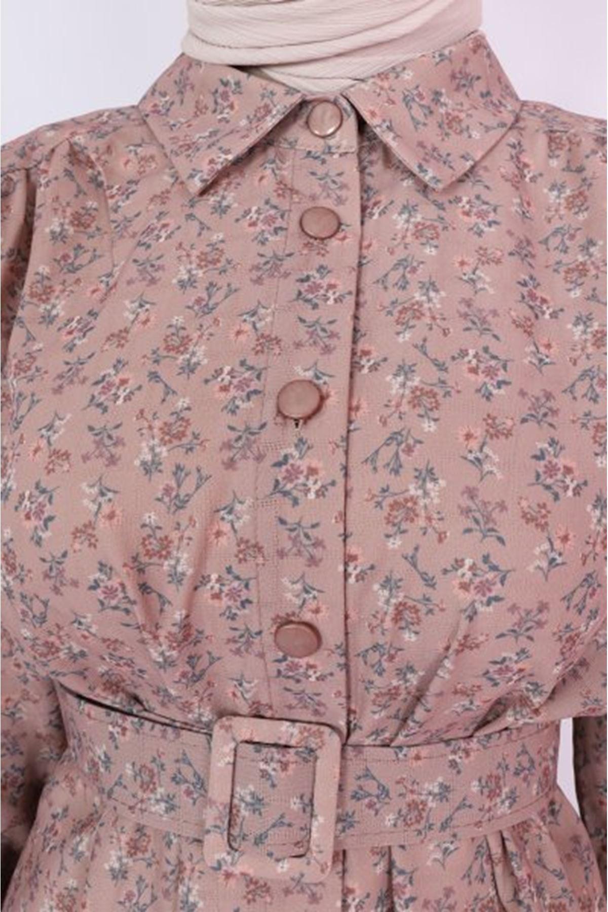 Kadın Desenli Boydan Düğmeli Kap-gülkrusu