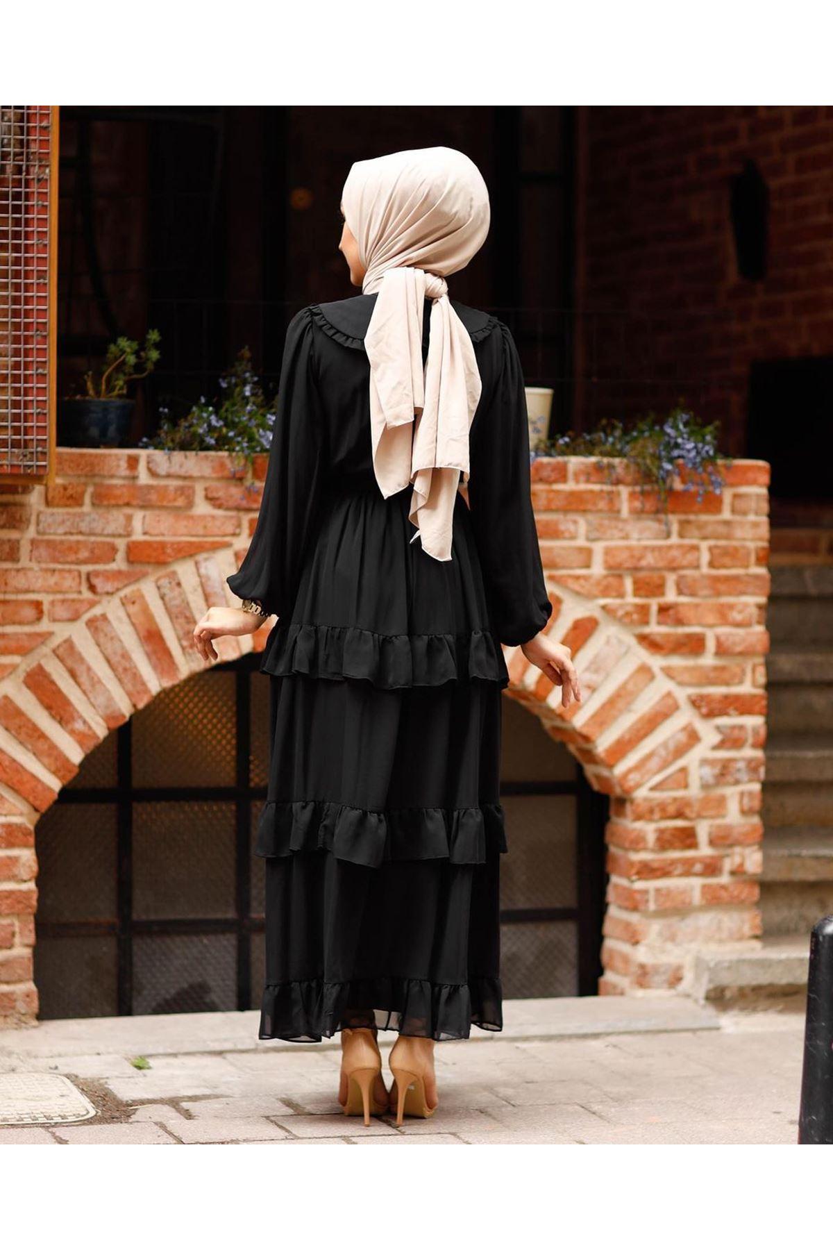 Kadın Bebe Yaka Kat Eblise-siyah