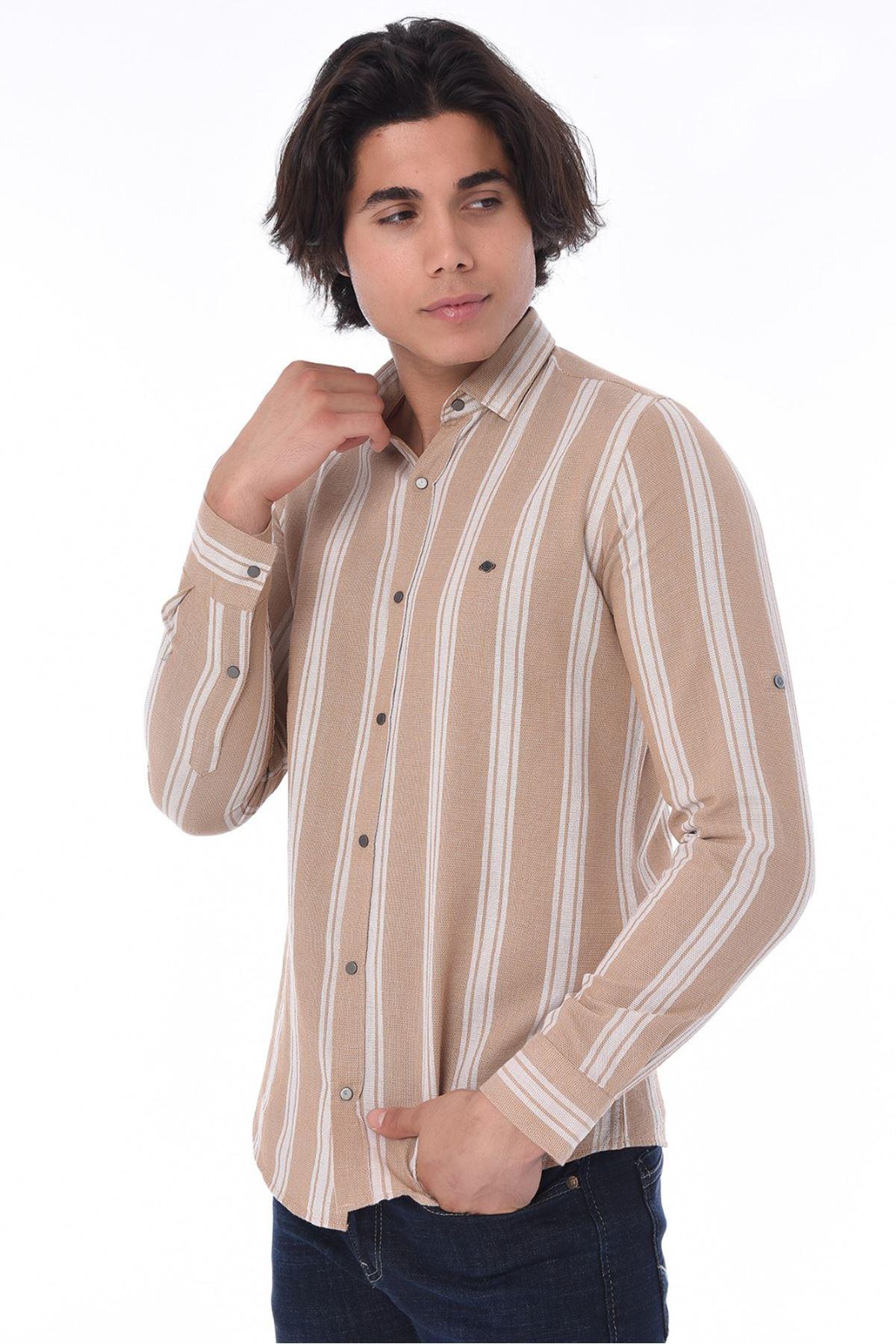 Erkek Çizgili Gömlek-koyu bej