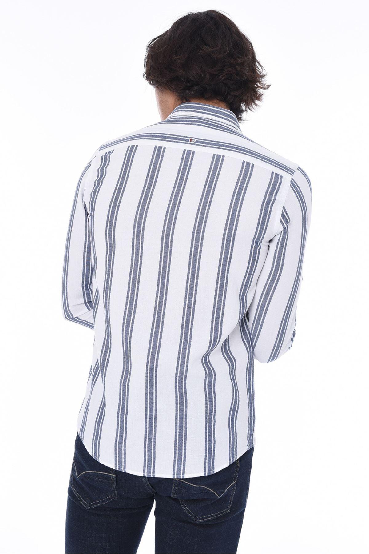 Erkek Çizgili Gömlek-beyaz