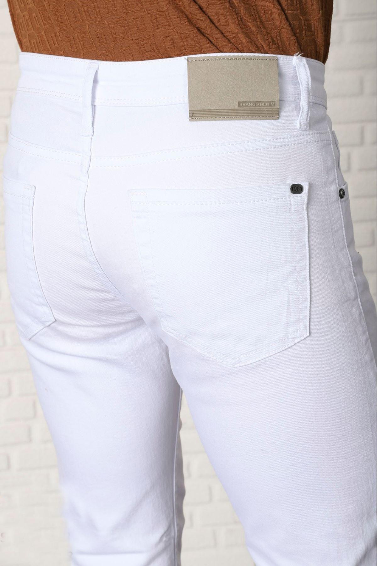 Erkek Keten Pantolon-beyaz