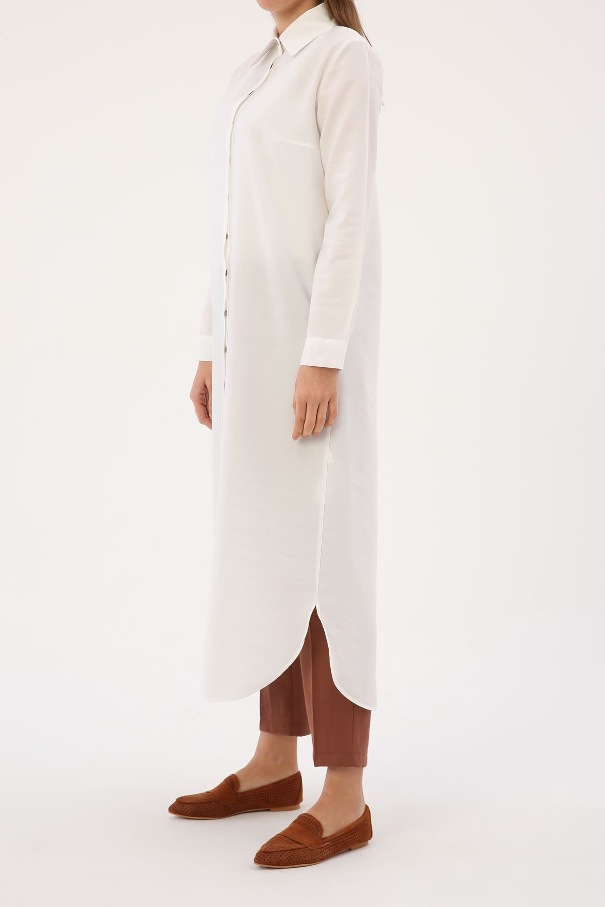 Kadın Uzun Tensel Tunik-beyaz