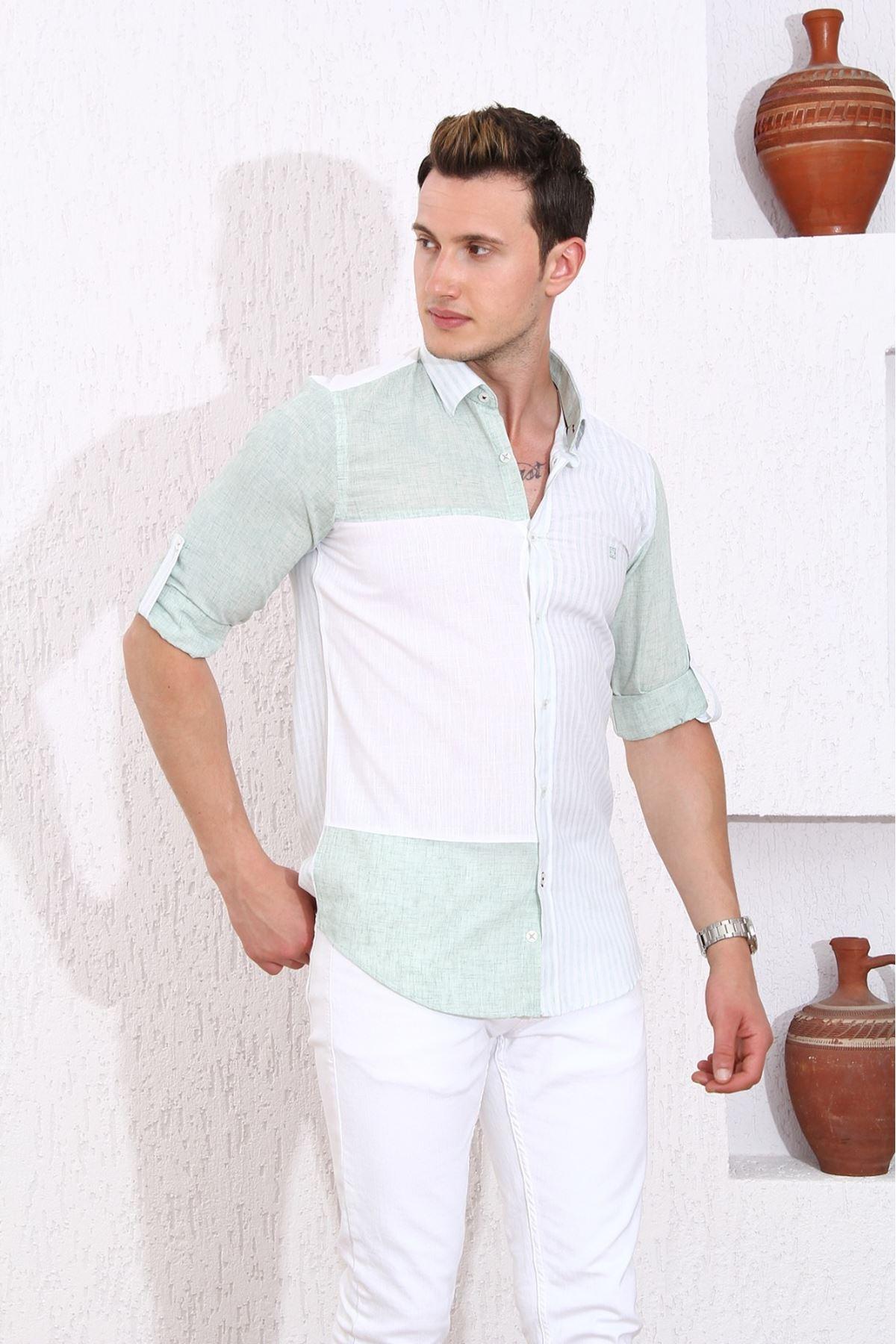 Erkek Çizgili Gömlek-yeşil