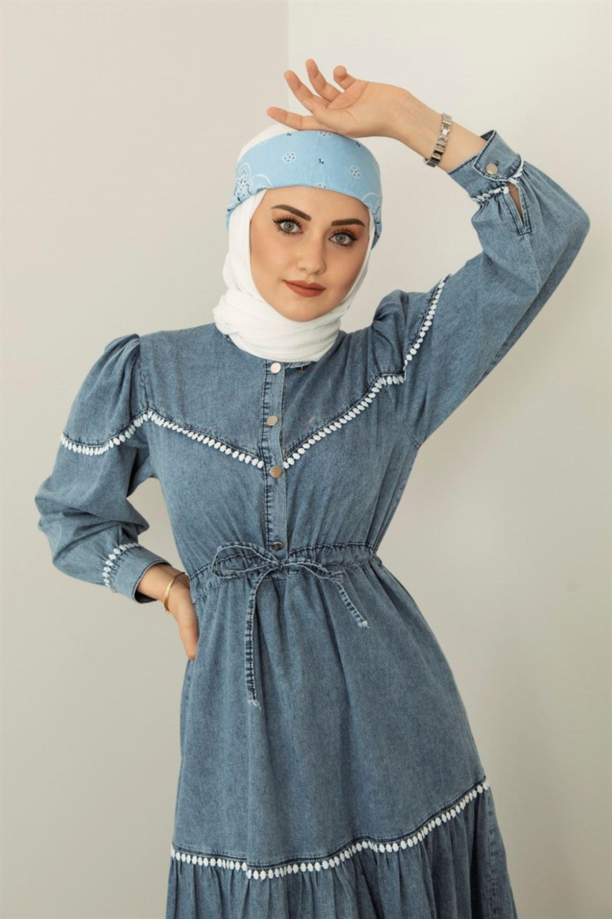 Kadın Beli Bağıcıklı  Kot Elbise-mavi