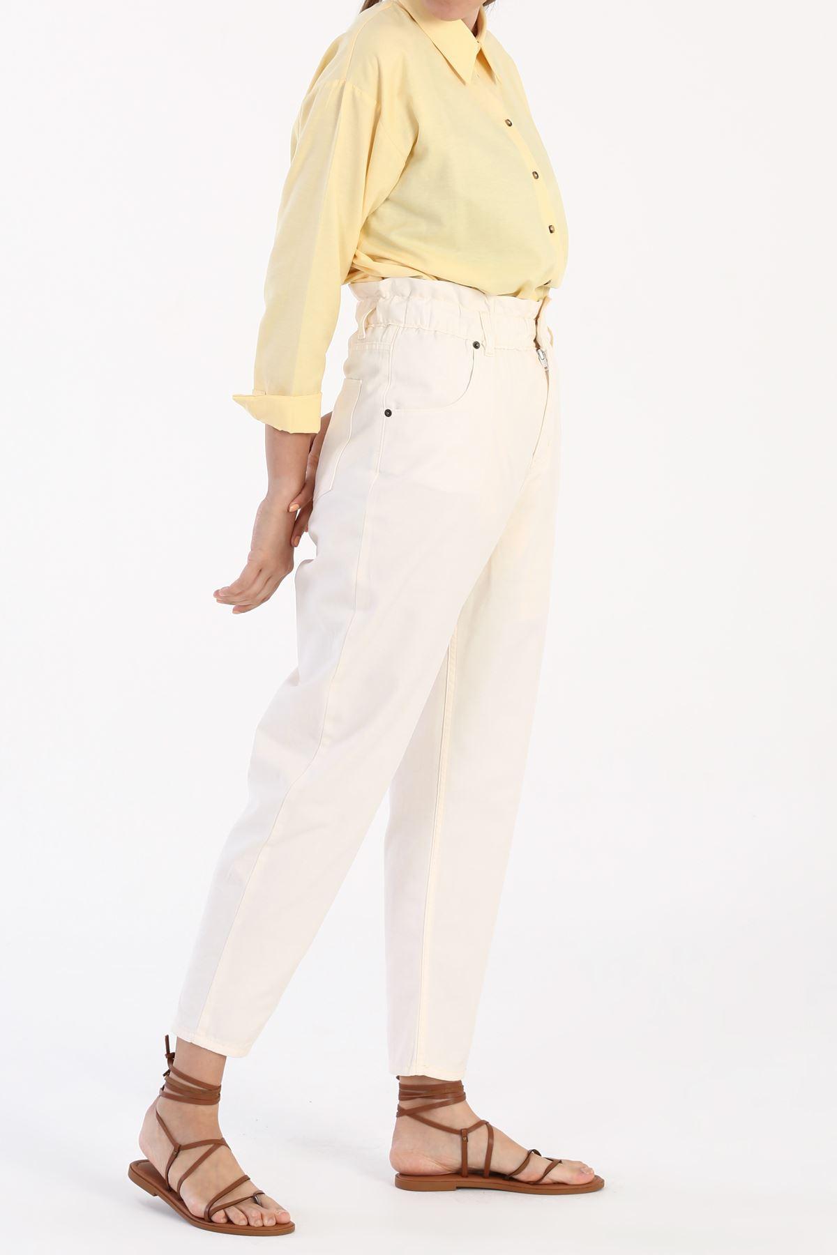 Kadın Beli Lastikli Jean-ekru