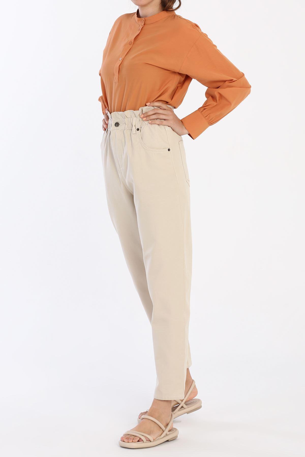 Kadın Beli Lastikli Jean-kumbej