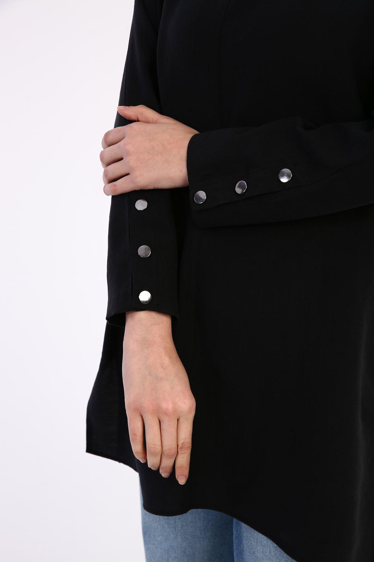 Kadın Kol Çıtçıtlı Tunik-siyah