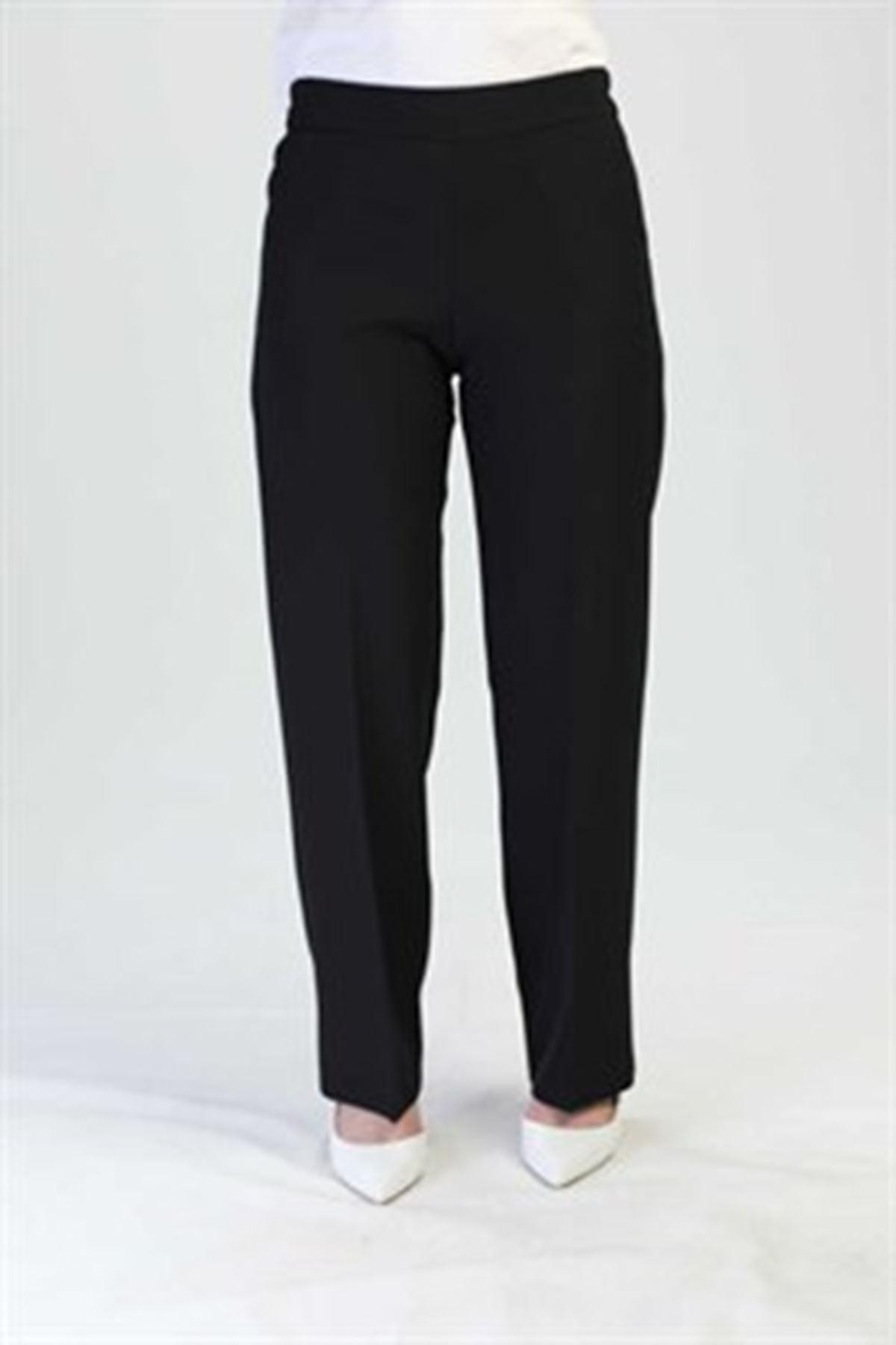 Kadın Beli Lastikli Pantolon-siyah