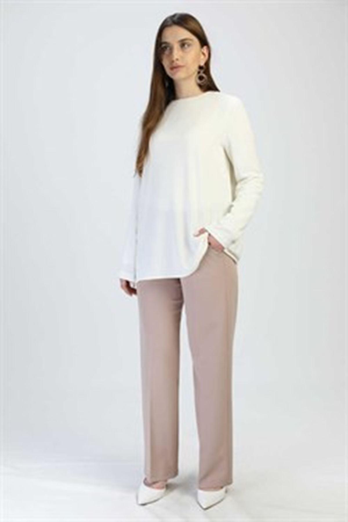 Kadın Beli Lastikli Pantolon-koyu bej