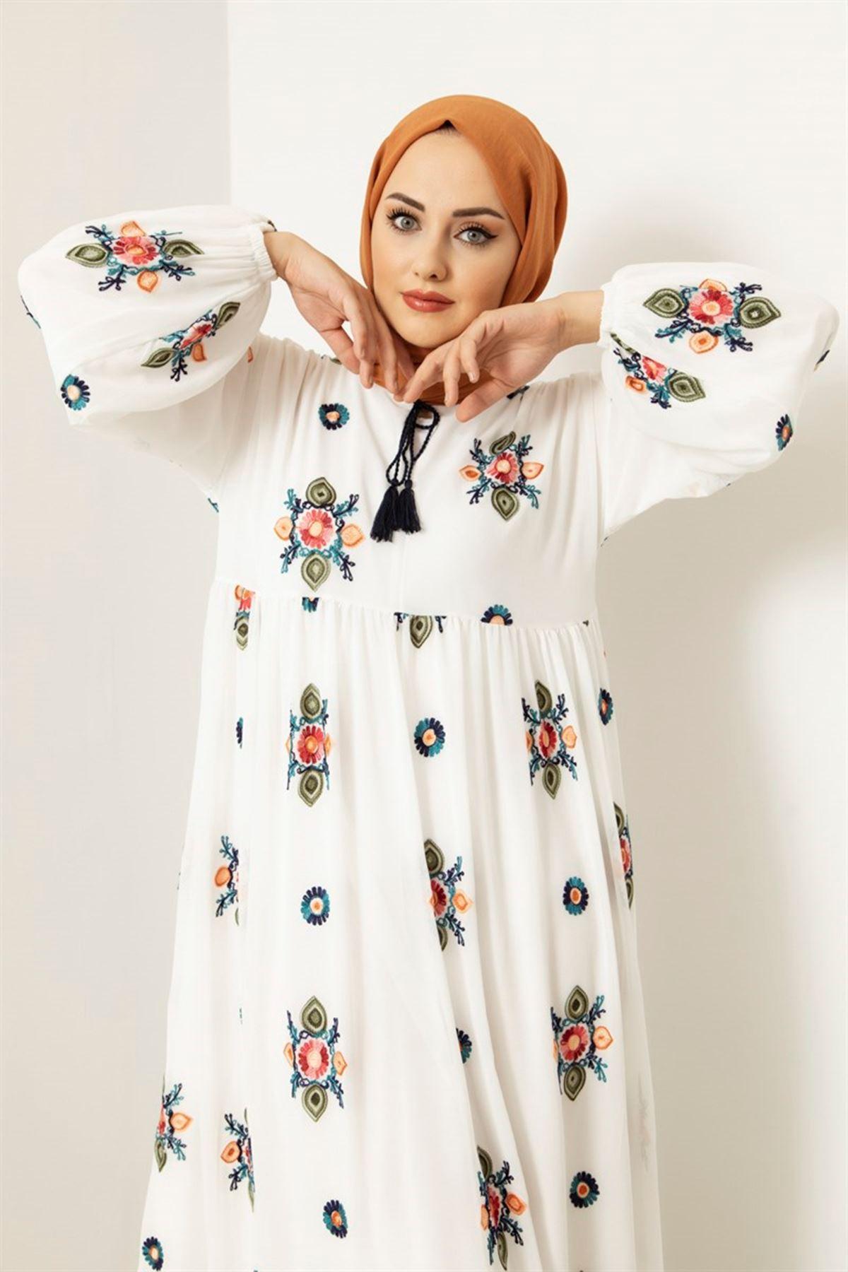 Desenli Şifon Elbise