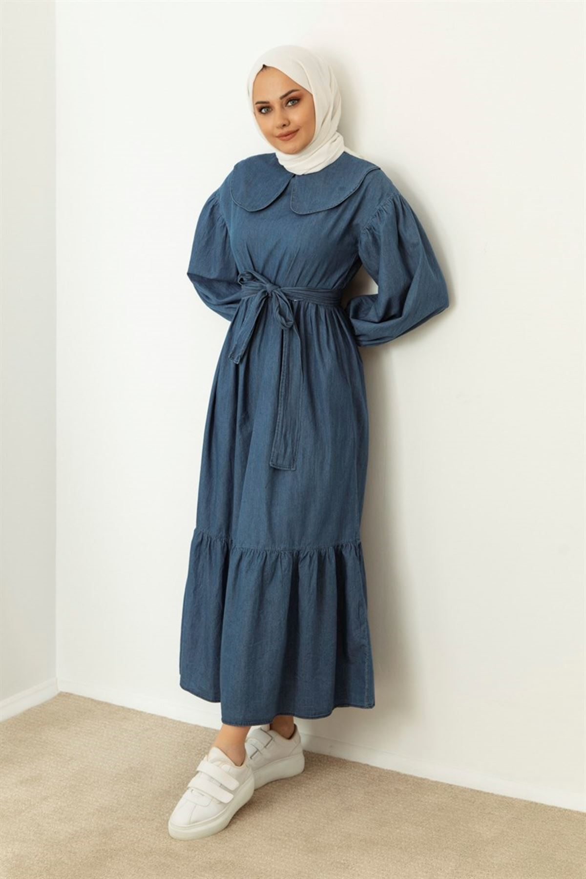 Kadın Bebe Yaka Kot Elbise-mavi