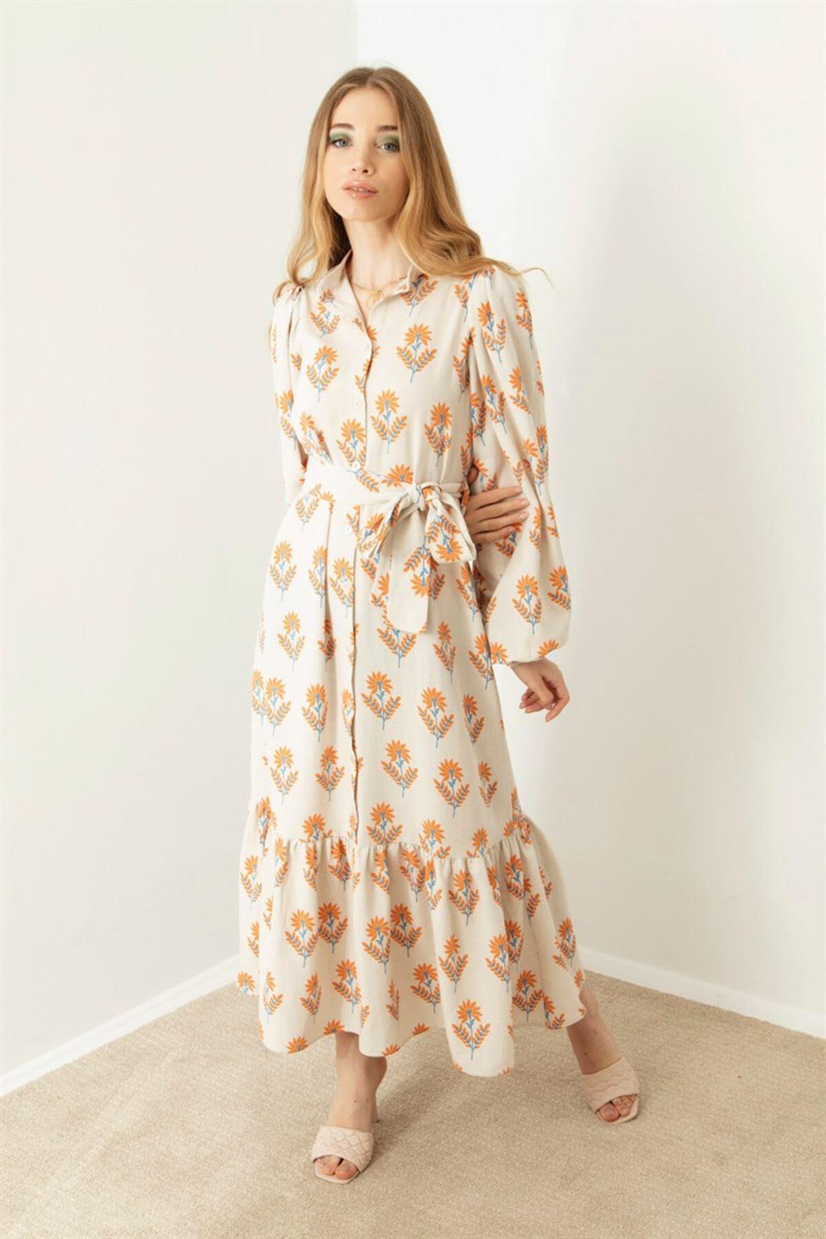 Kadın Desenli Boydan Düğmeli Elbise-bej