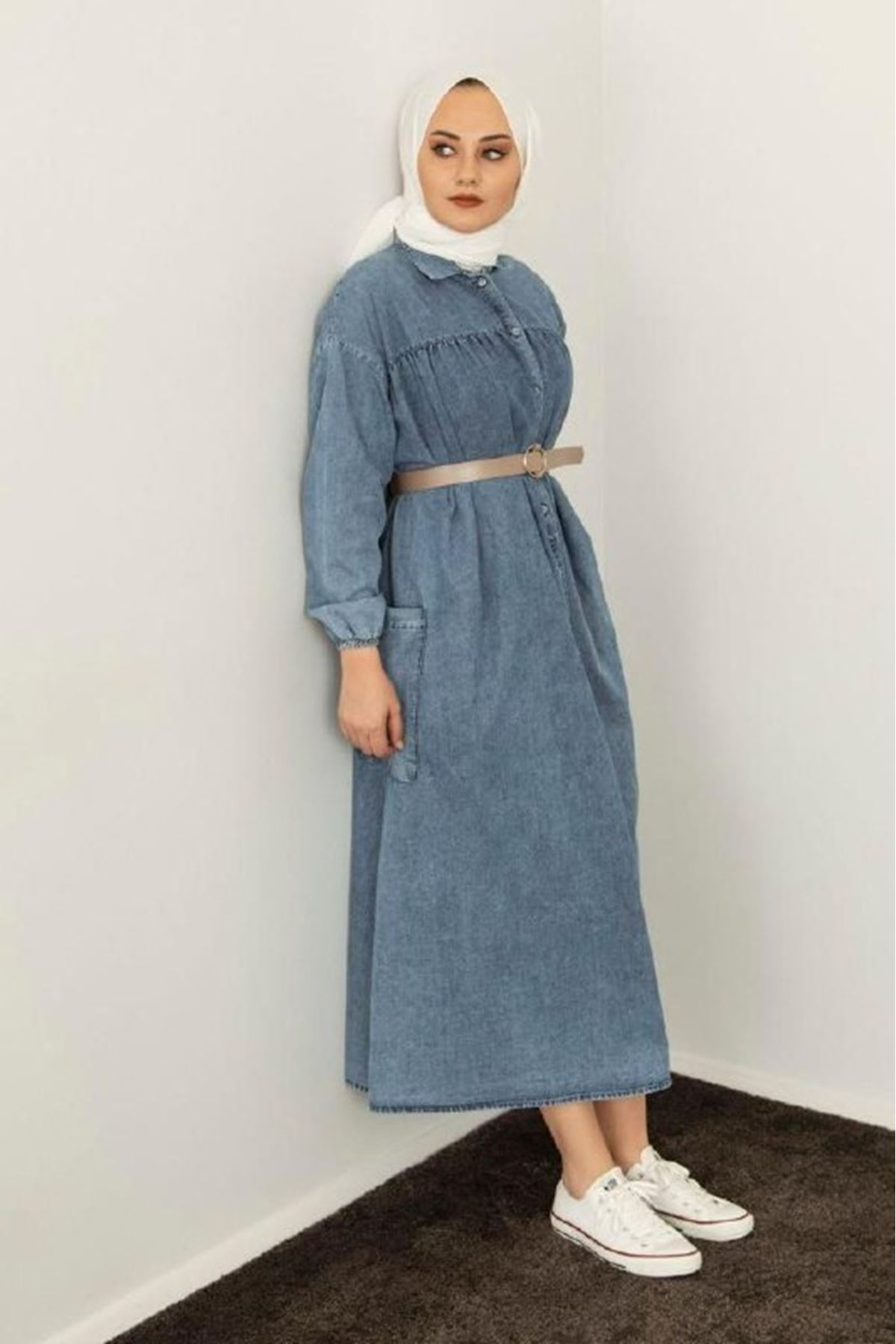 Kadın Kot Elbise-mavi