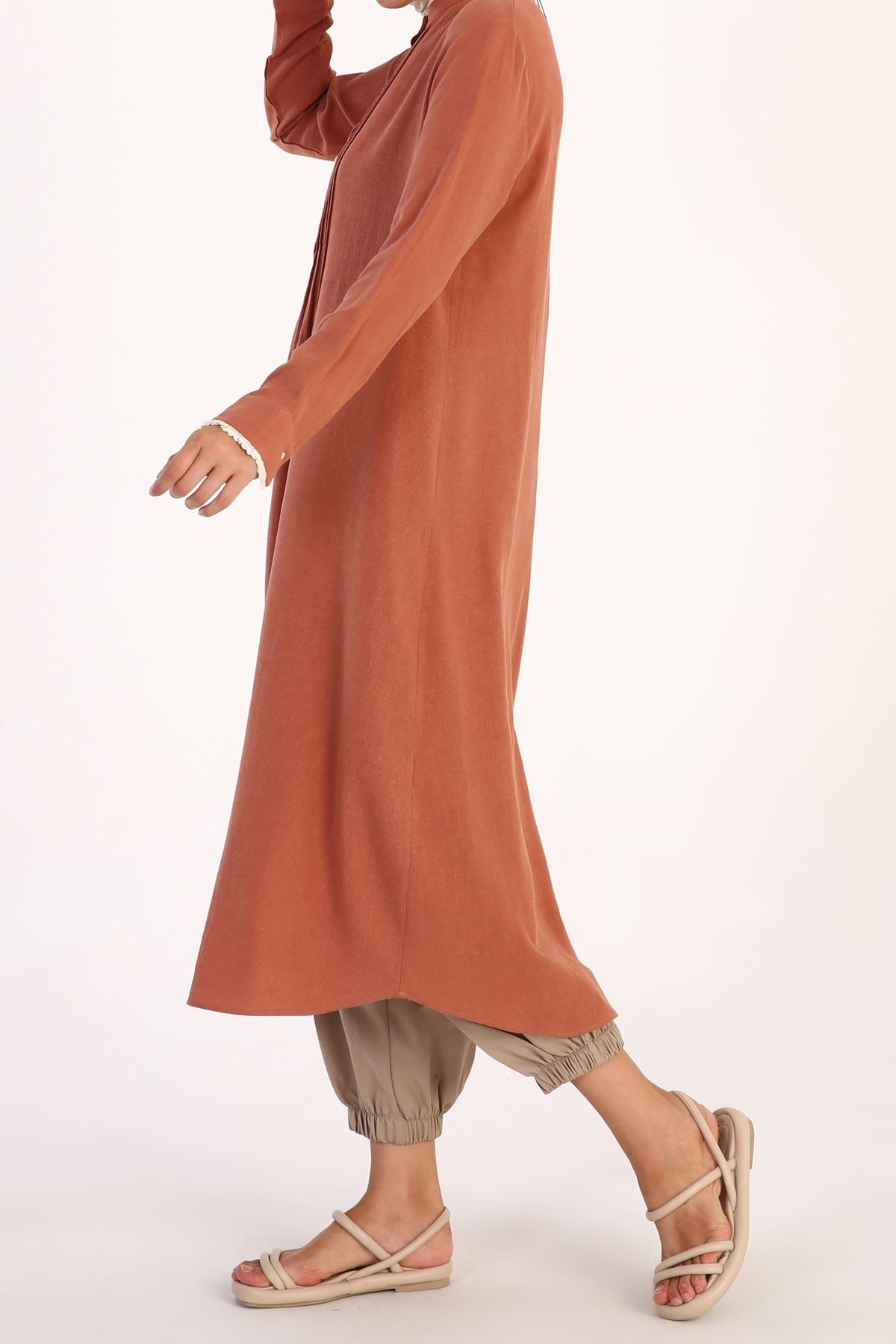 Kadın Nervürlü Tensel Tunik-gül kurusu