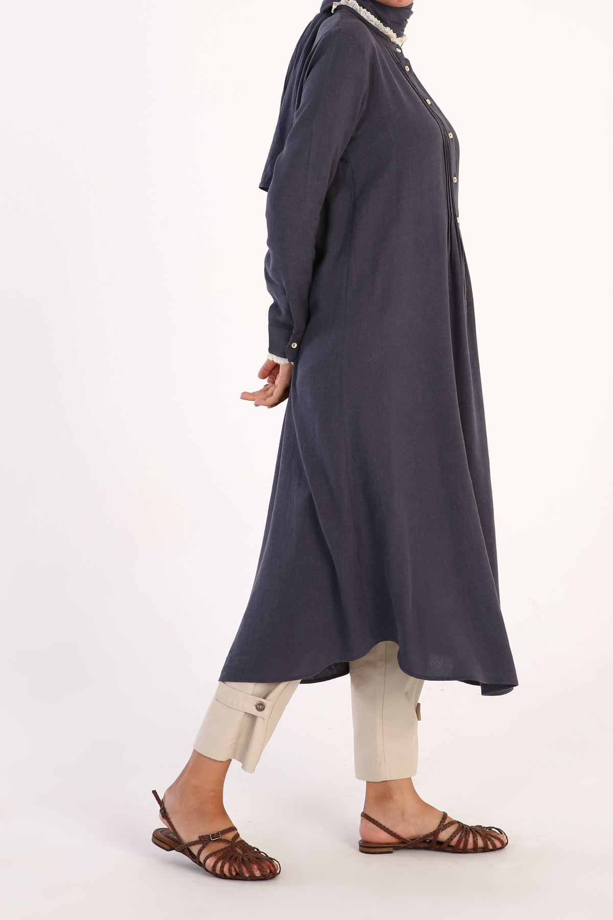 Kadın Nervürlü Tensel Tunik-indigo