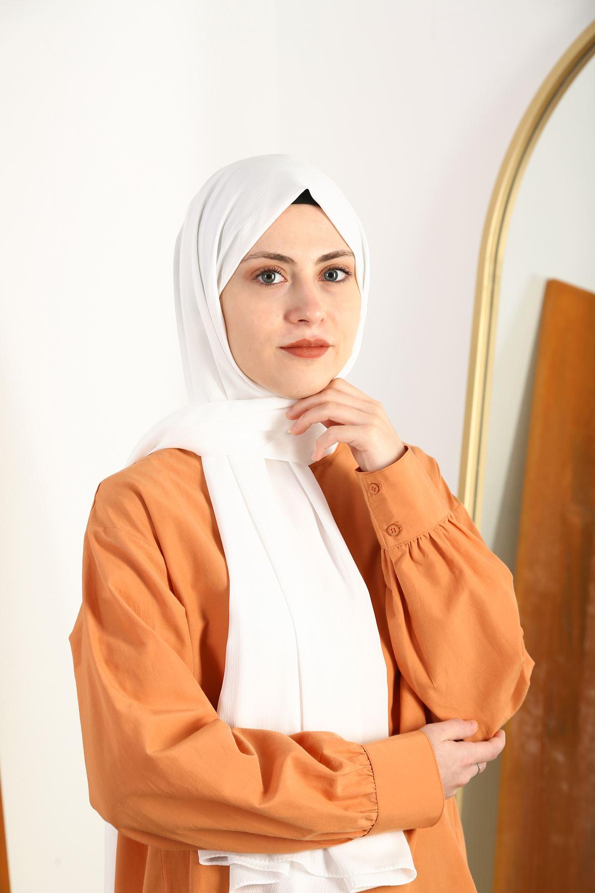 Medine İpek Şal-beyaz