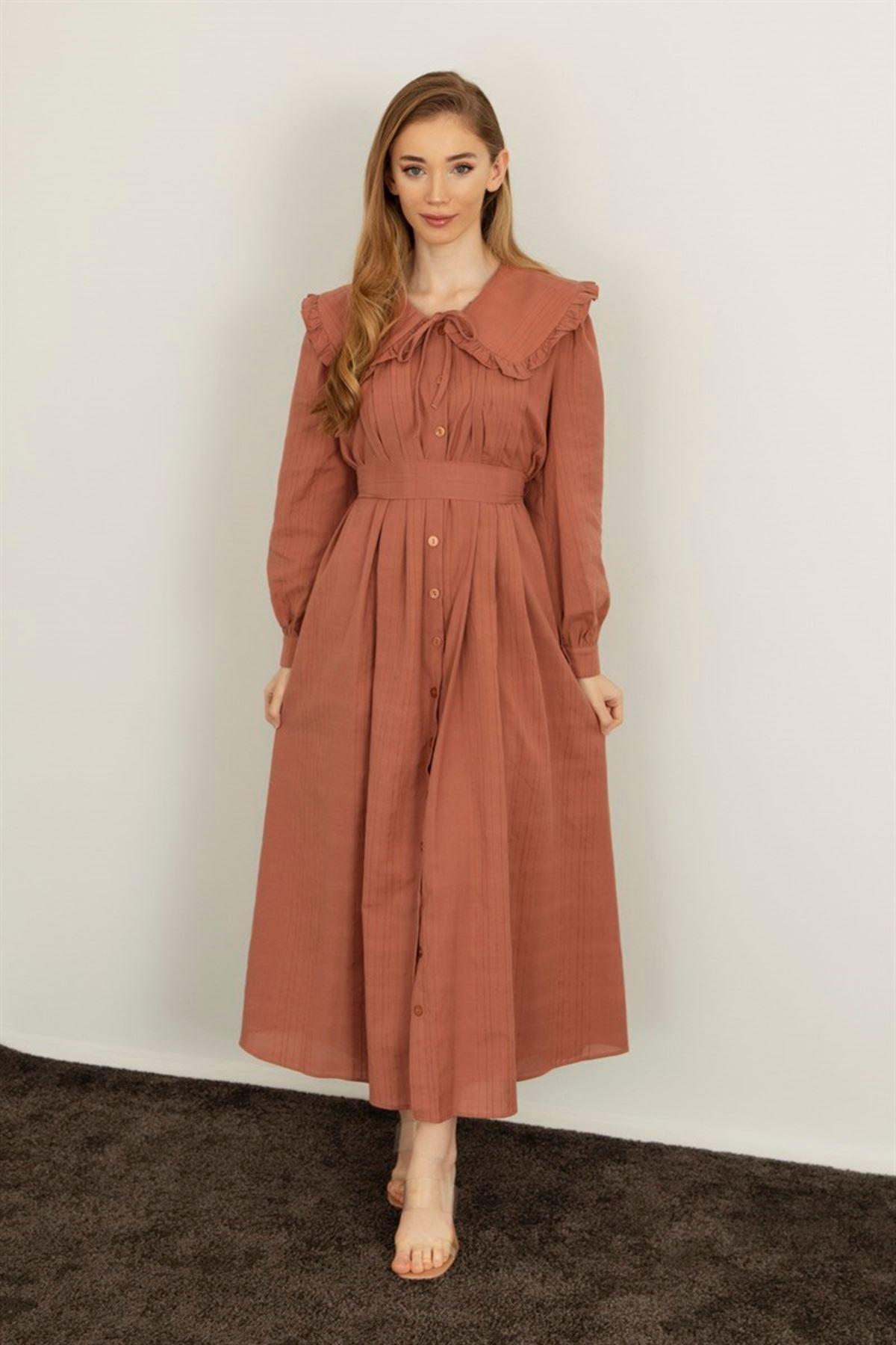 Kadın Bebe Yaka Boydan Düğmeli Elbise-gül kurusu