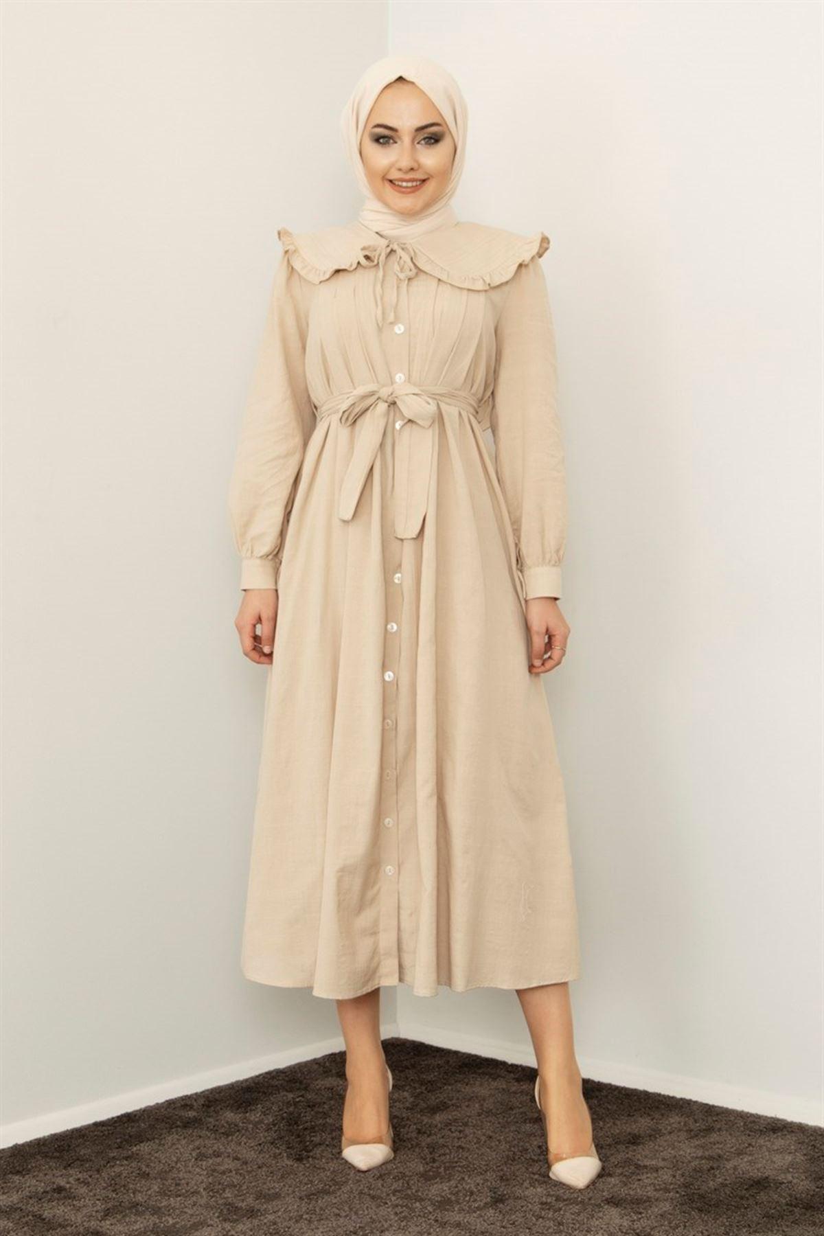 Kadın Bebe Yaka Boydan Düğmeli Elbise-bej