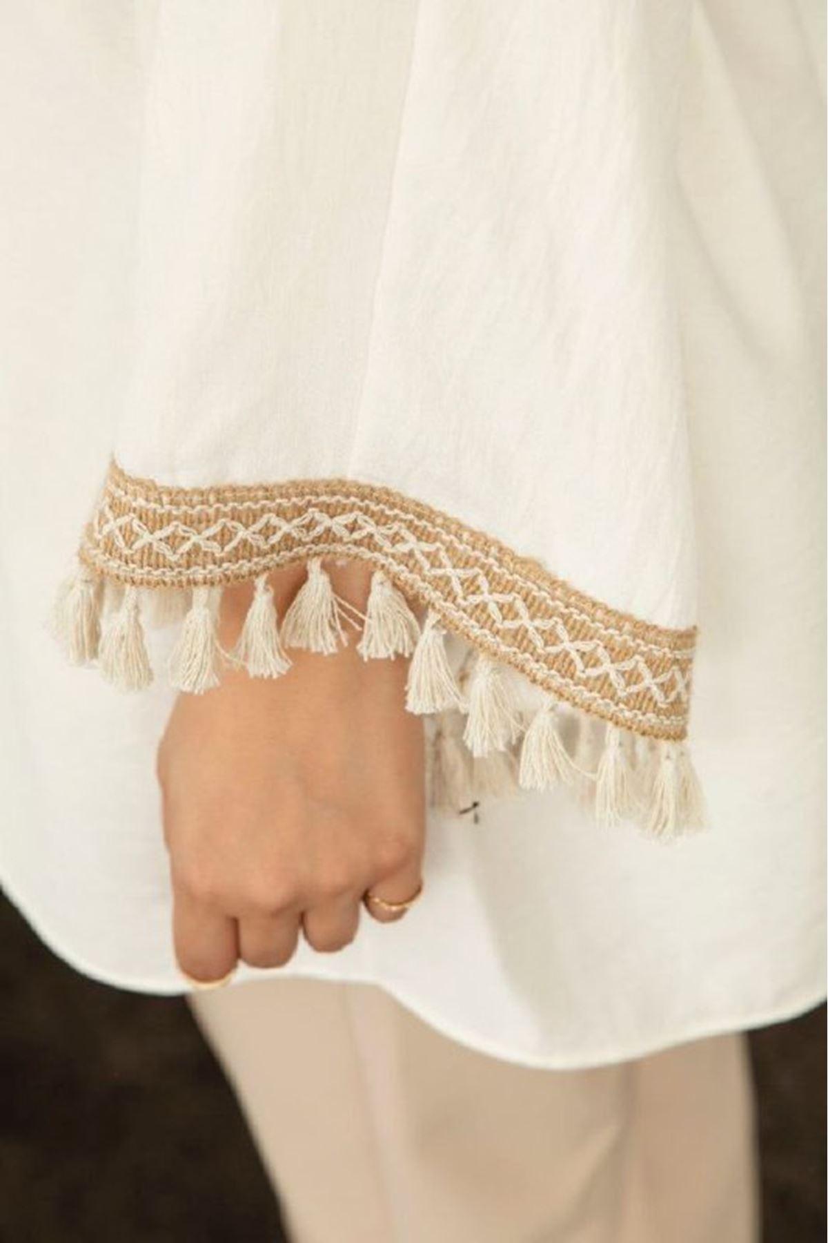 Kadın  keten Tunik-beyaz